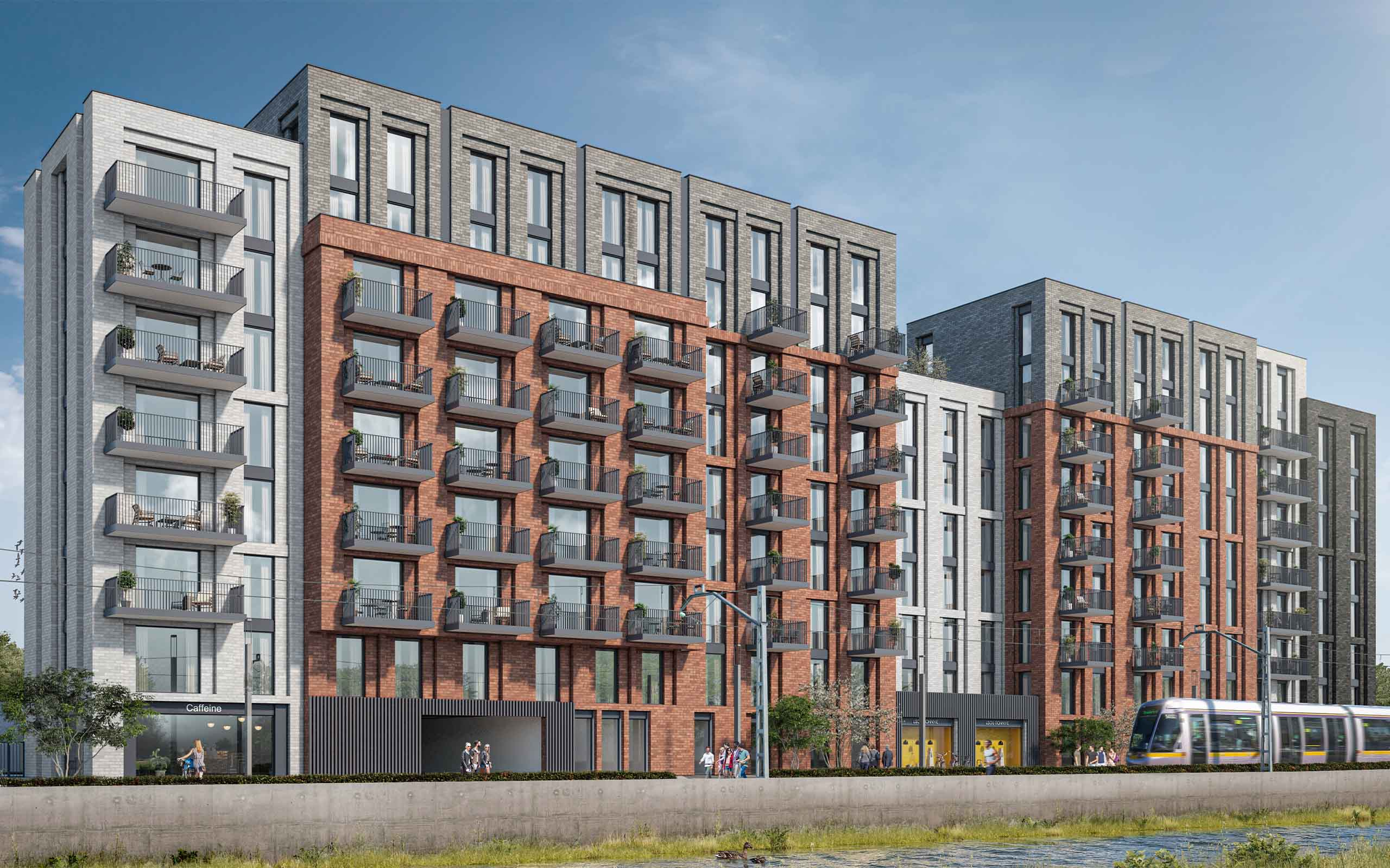 Architectural CGI of 188 apartments approved on Davitt Road, Dublin 12.