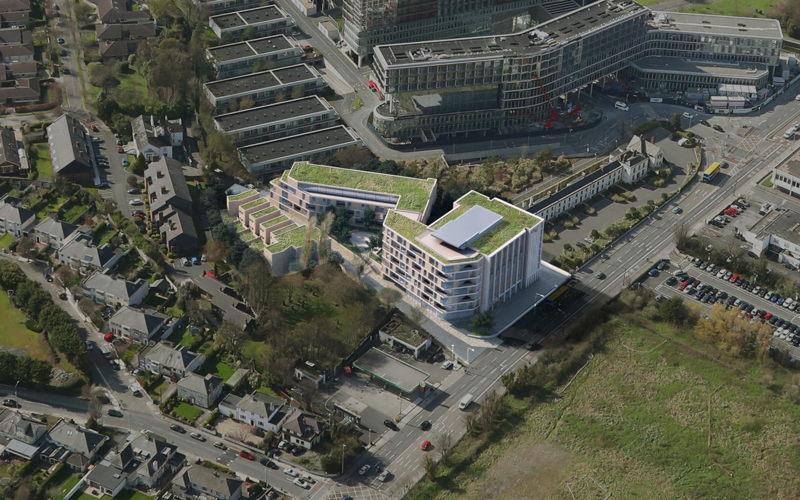 Aerial photomontage of the Maldron Hotel at Former Tara Towers Hotel – Dublin 4