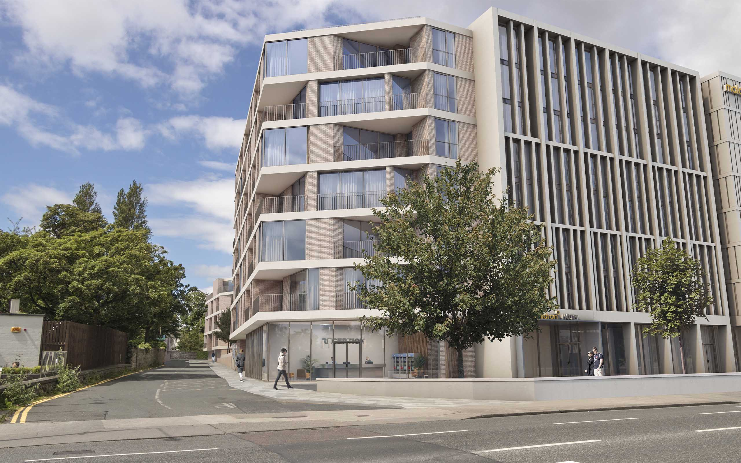 Architectural CGI of new Maldron Hotel on the former site of Tara Towers Hotel in Dublin 4.