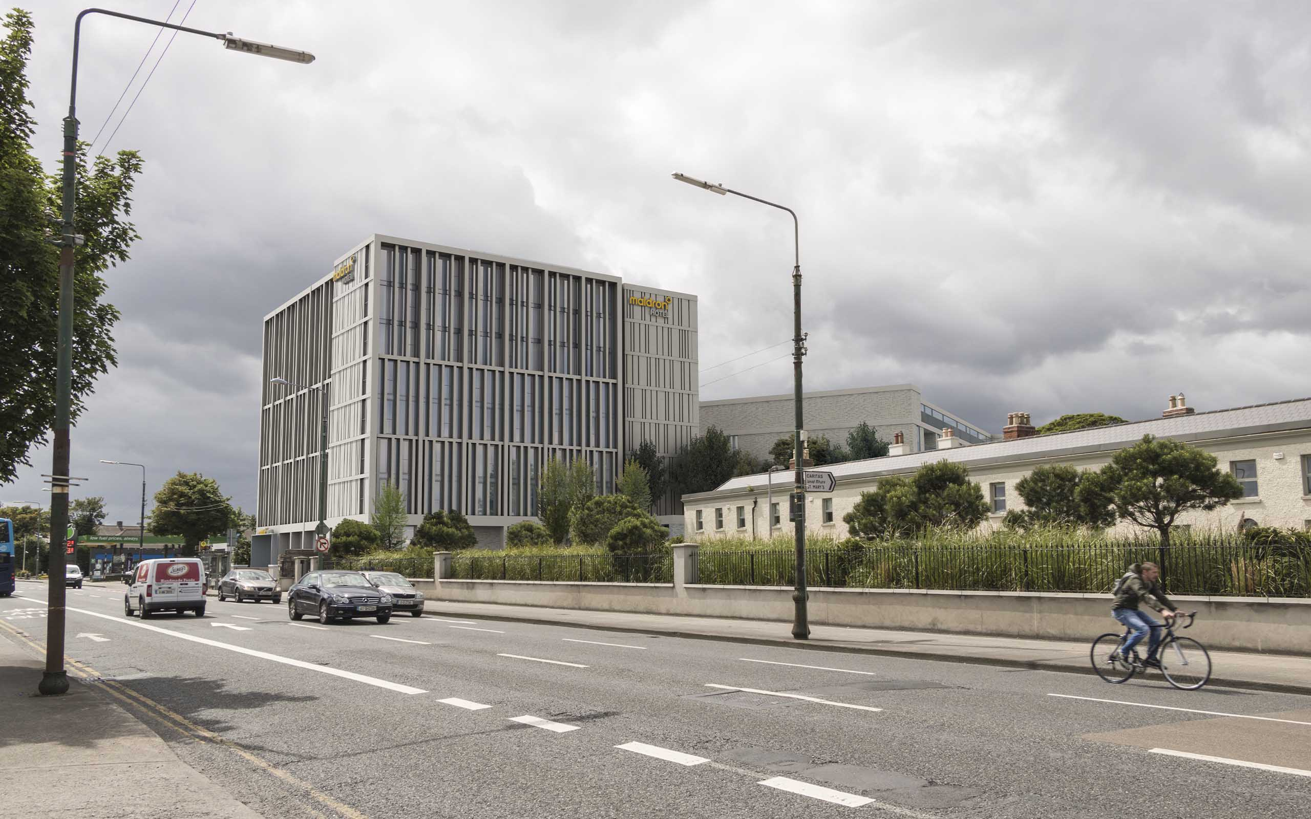 Verified view of new Maldron Hotel on the former site of Tara Towers Hotel in Dublin 4.
