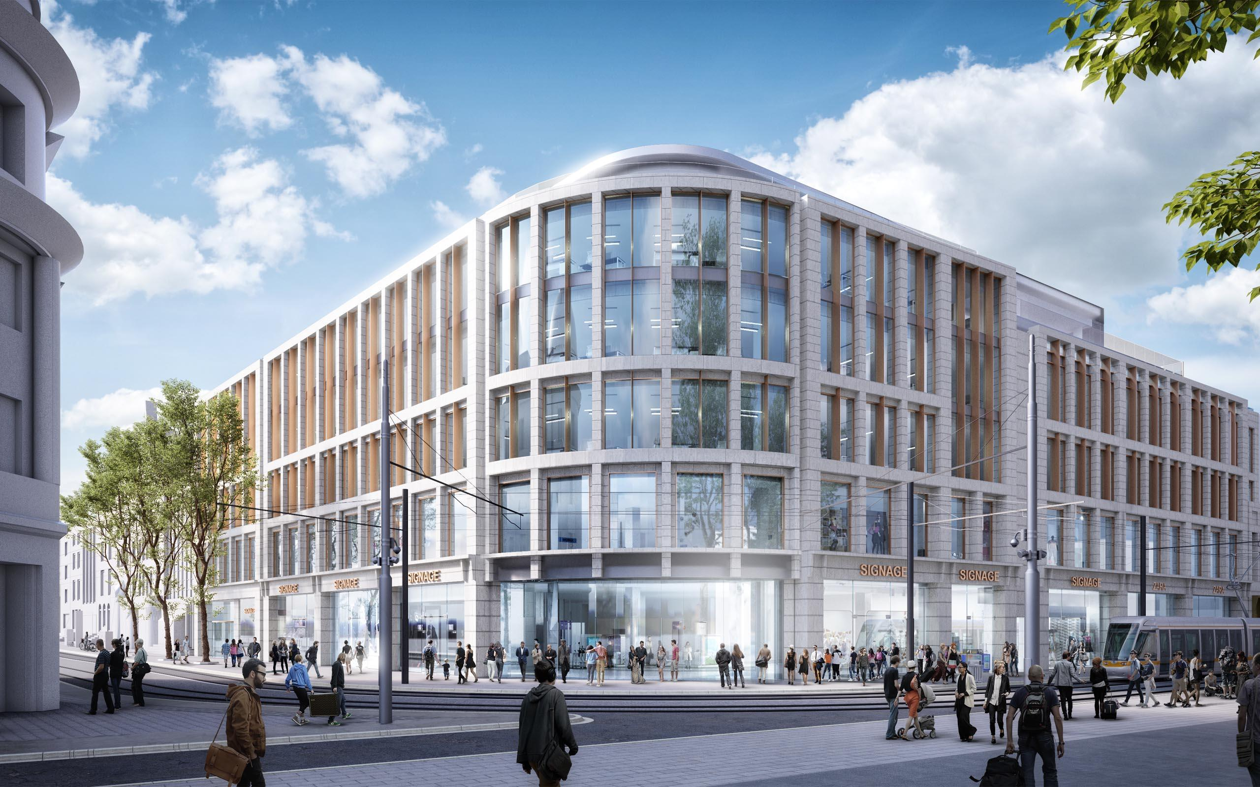 Architectural CGI of Nassau Street shopping centre