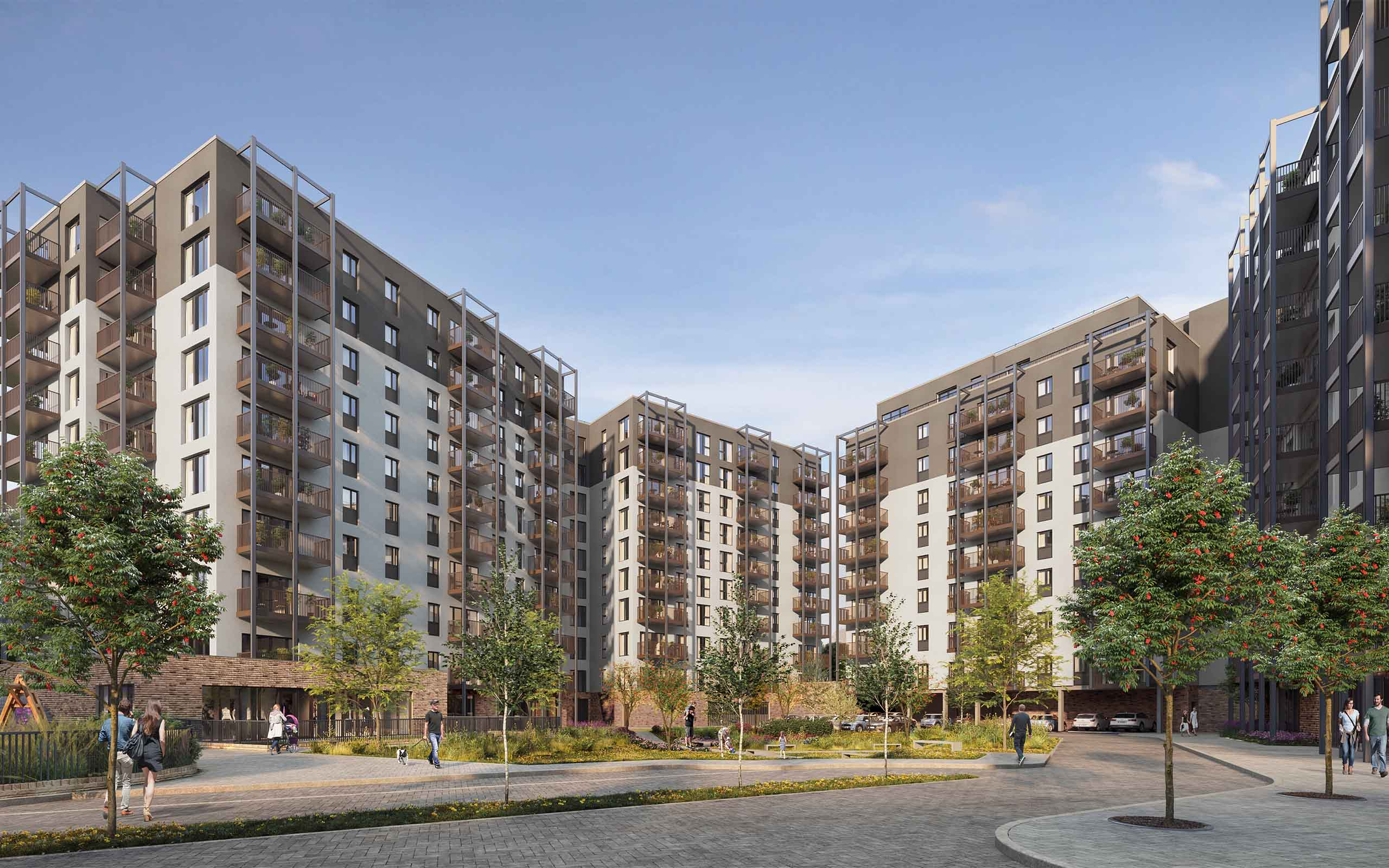 Architectural CGI of Crown Square Phase 2: 345 Apartment Units.