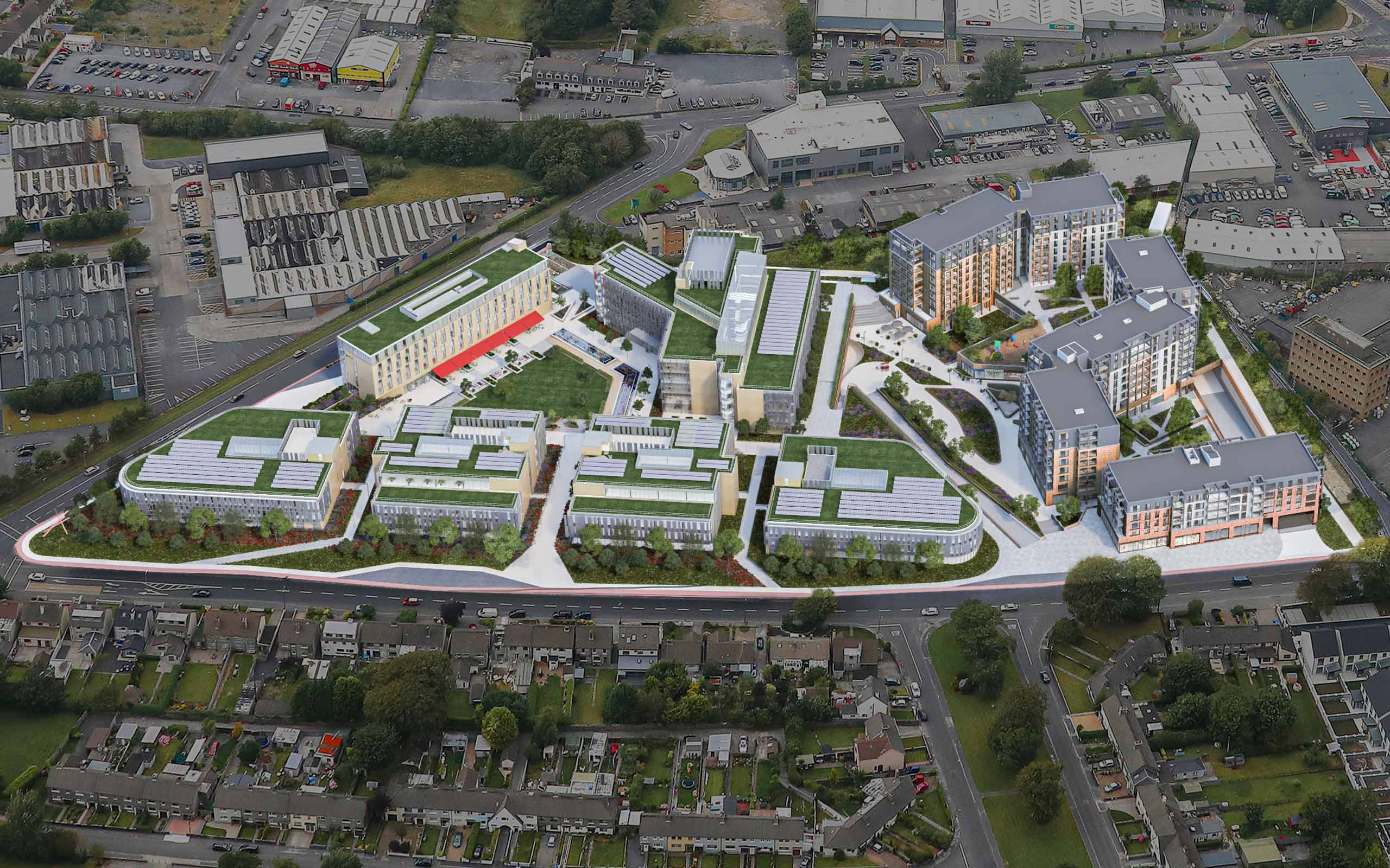 Aerial CGI of Crown Square Mix Use Development, Galway.