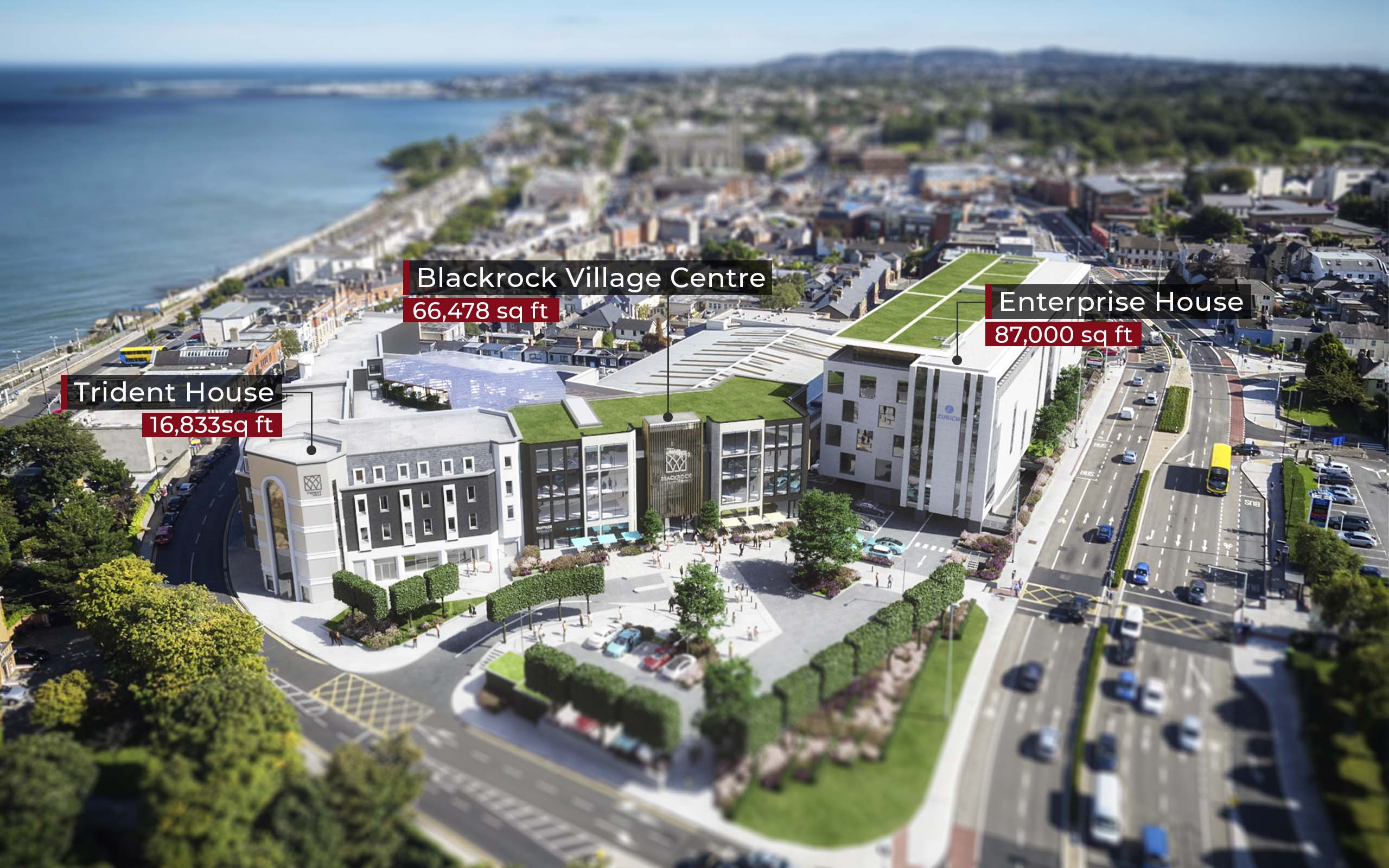 Aerial CGI of Blackrock office and residential developments, Frascati Road.