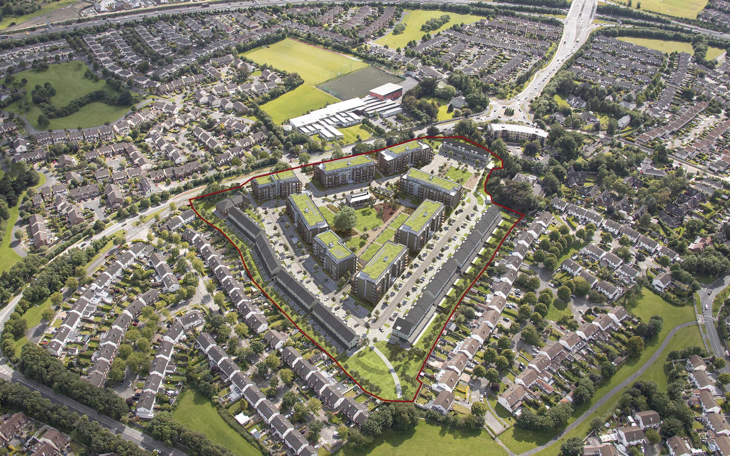 Aerial CGI of Scholarstown Road SHD - Knocklyon