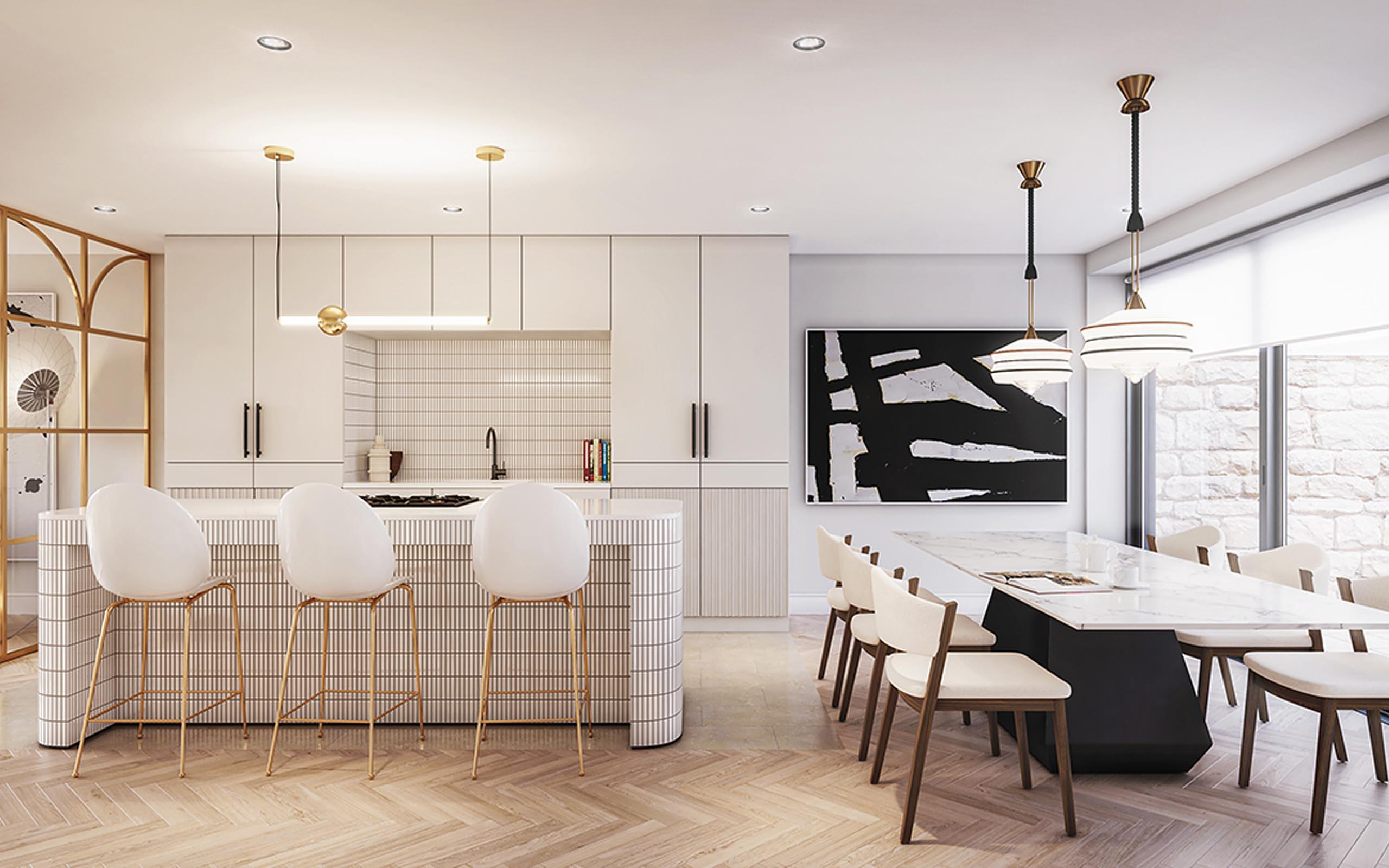 Interior CGI of Kitchen/dining area, house type 1, Dalkey residential development.