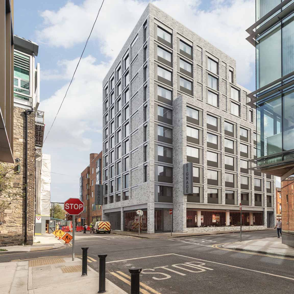 Verified view CGI of Proposed Premiere Inn hotel at Gloucester Street, Dublin Docklands