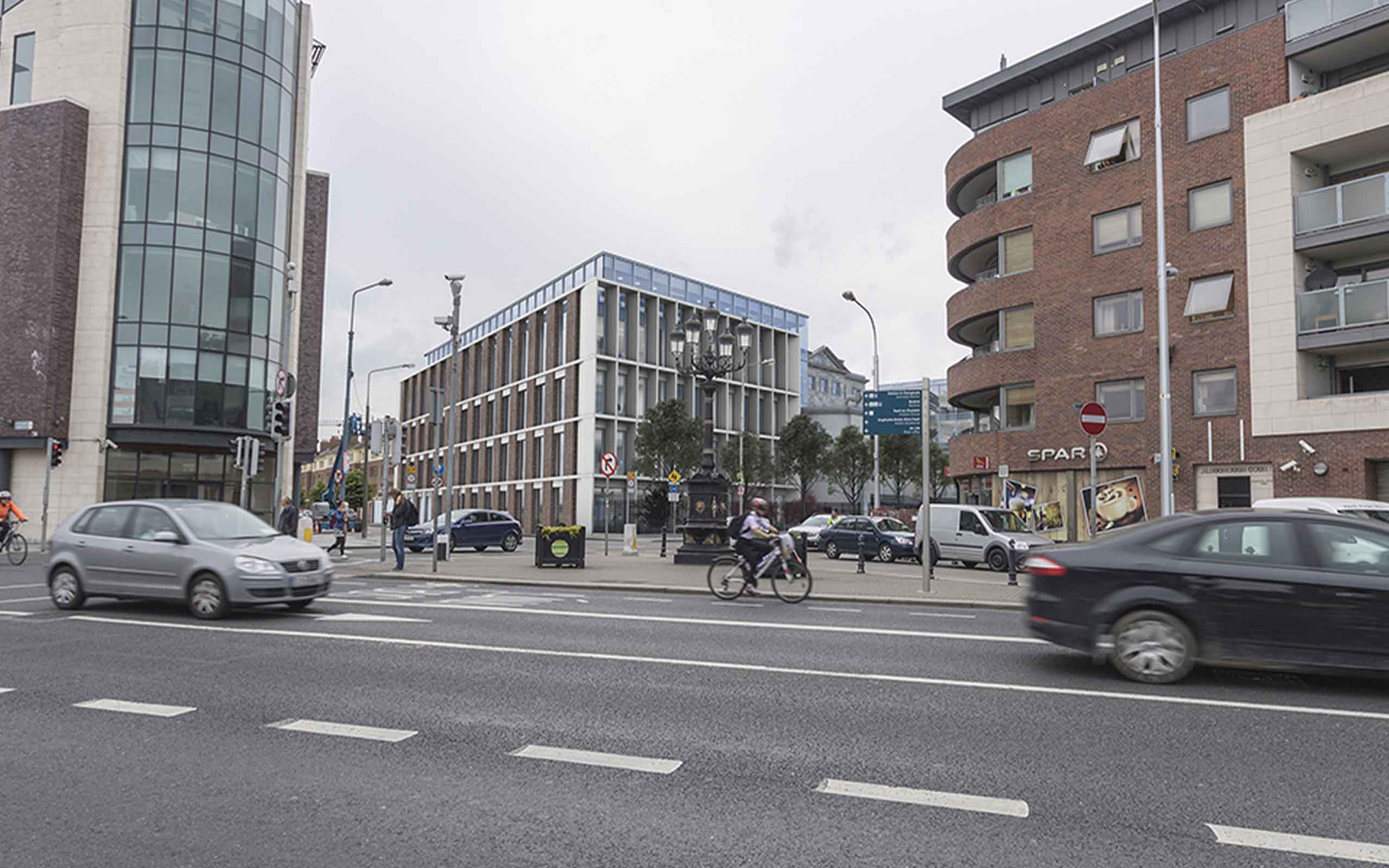 Verified view montage of proposed Aldborough House Office Redevelopment, Portland row, Dublin 1.