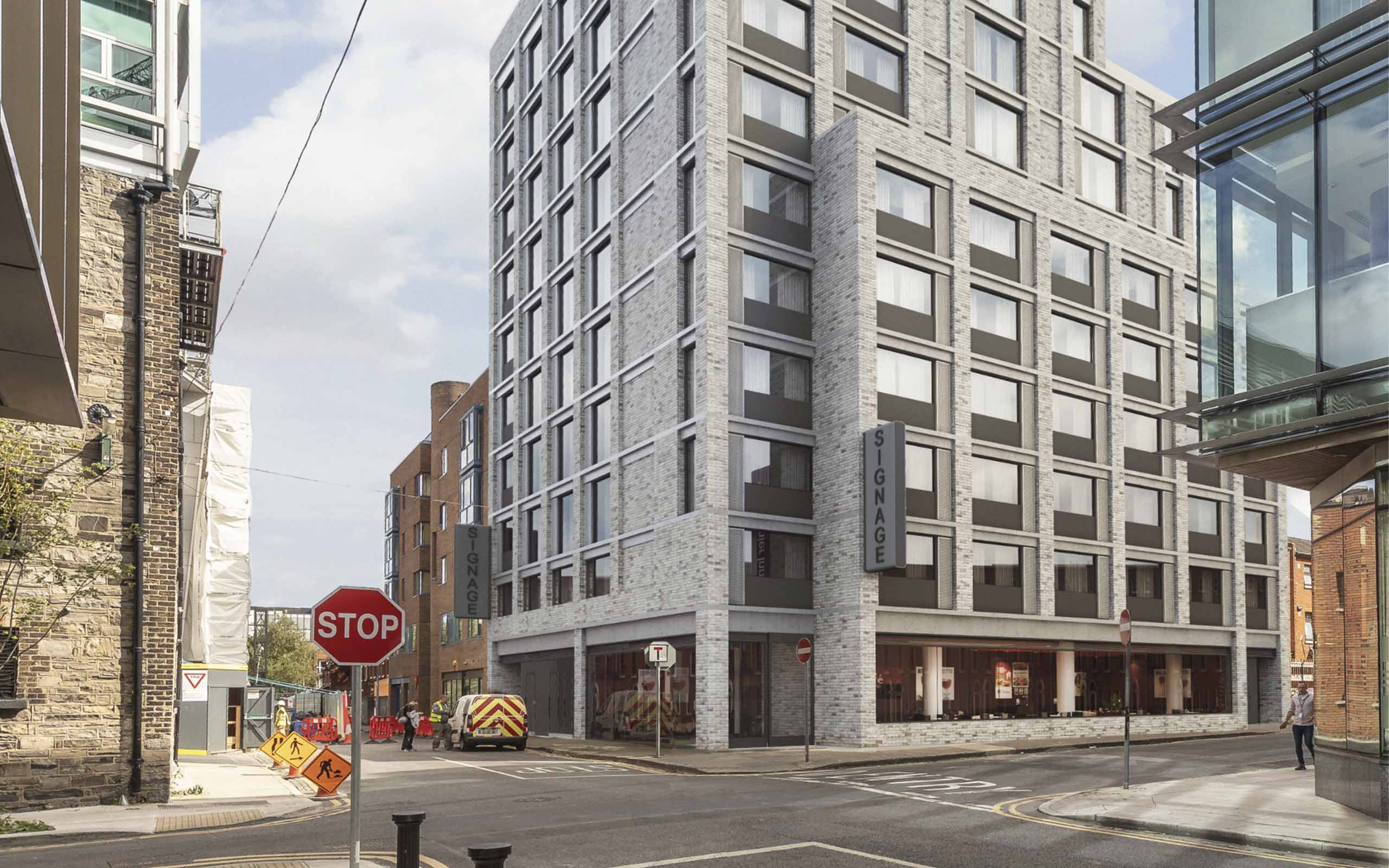 Verified view CGI of Premiere Inn hotel at Gloucester Street, Dublin Docklands