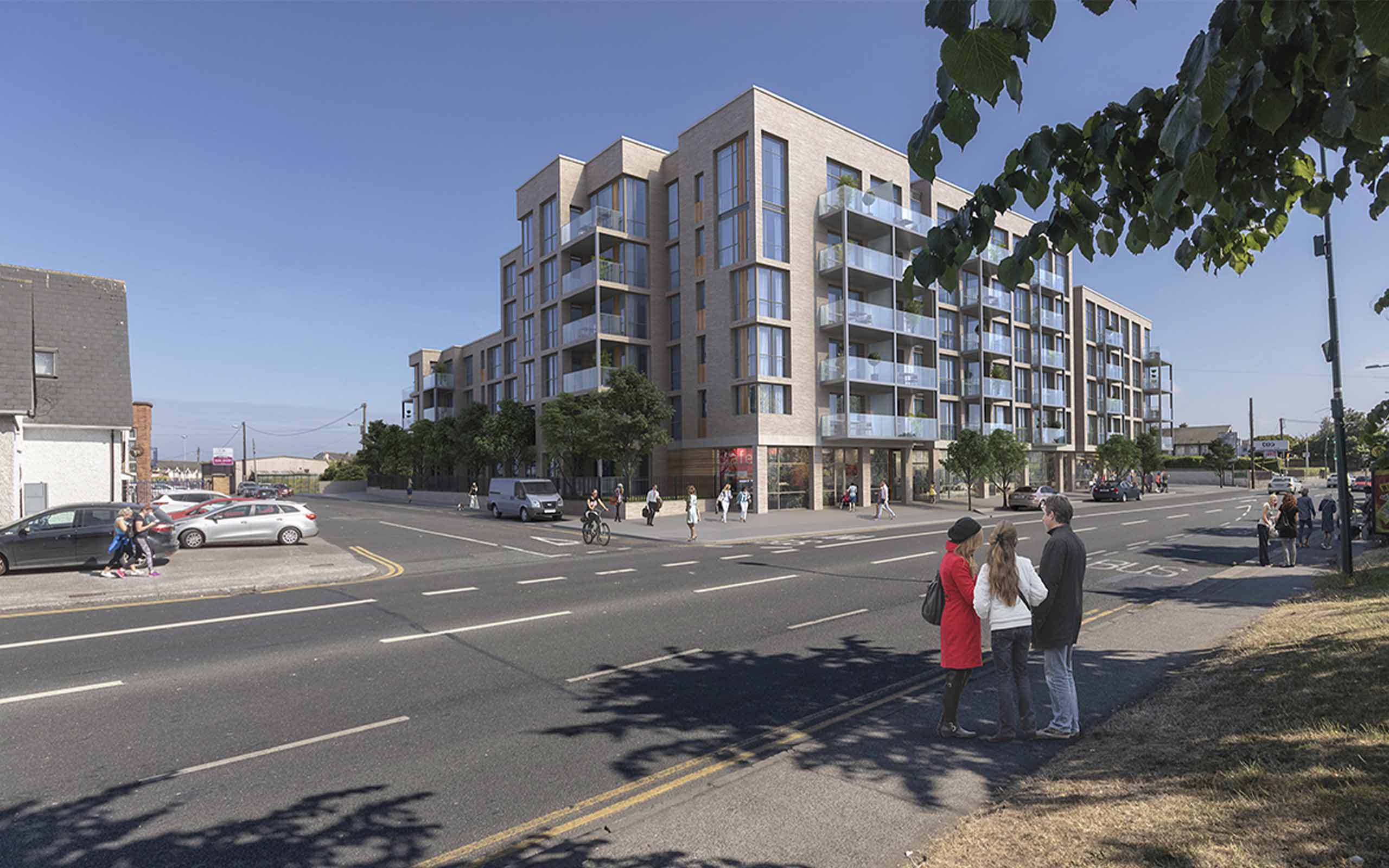 Verified view of proposed mixed-use development at Swiss Cottage, Santry.