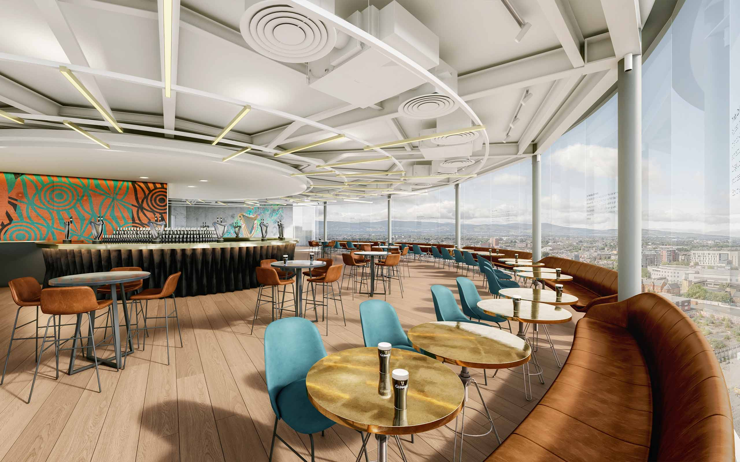 Interior CGI of new Guinness Storehouse's Gravity Bar