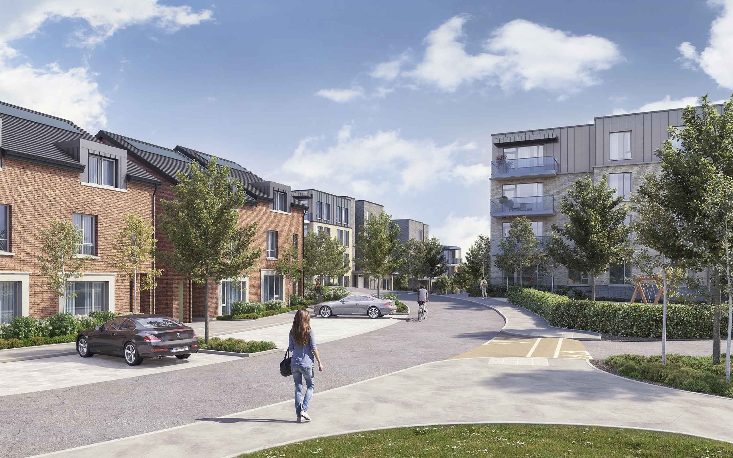 Architectural CGI of Kiltiernan SHD, Glenamuck Road, South Dublin.