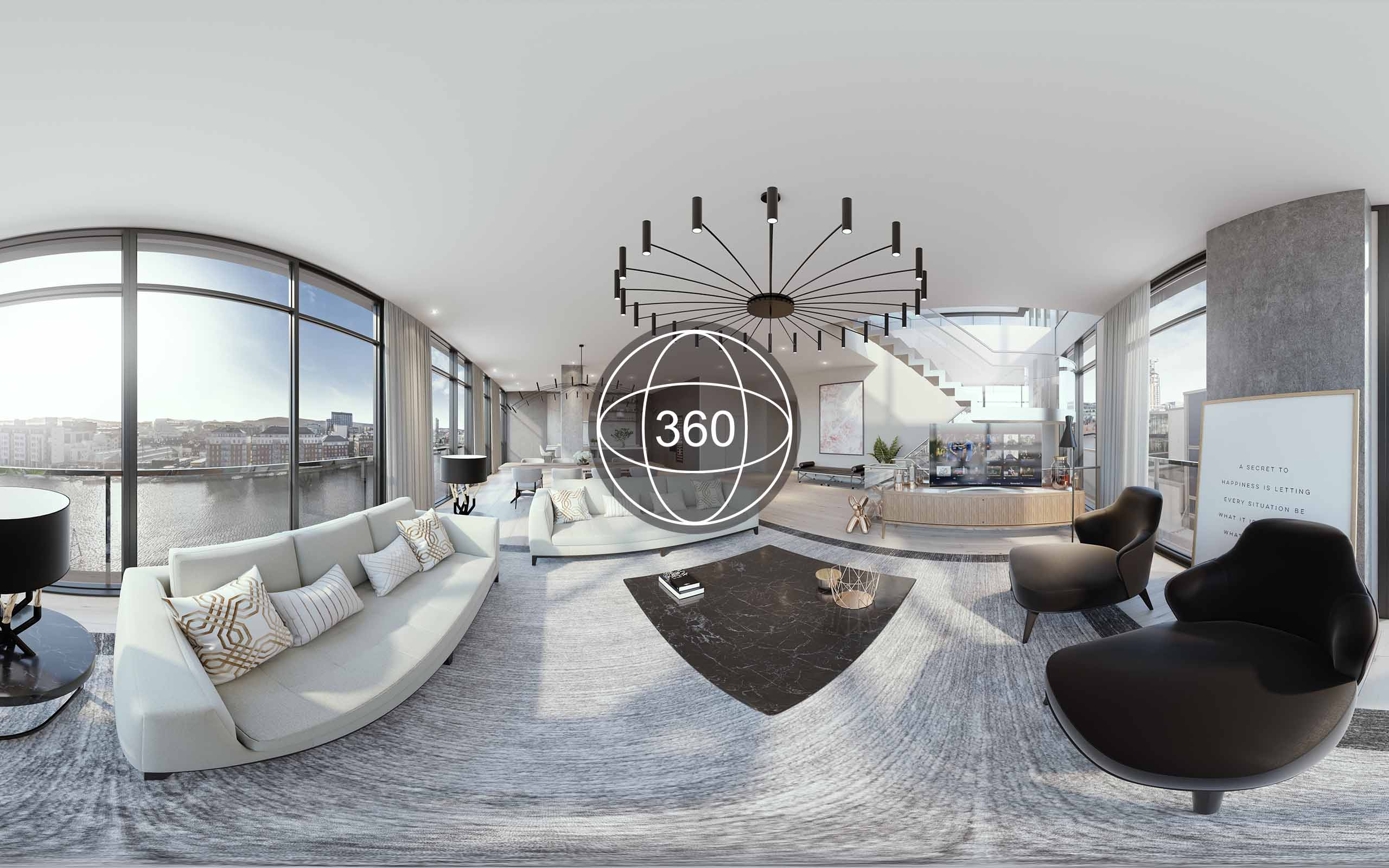 Off plans 360 virtual tour of Hanover Quay luxury apartments in Dublin 2.