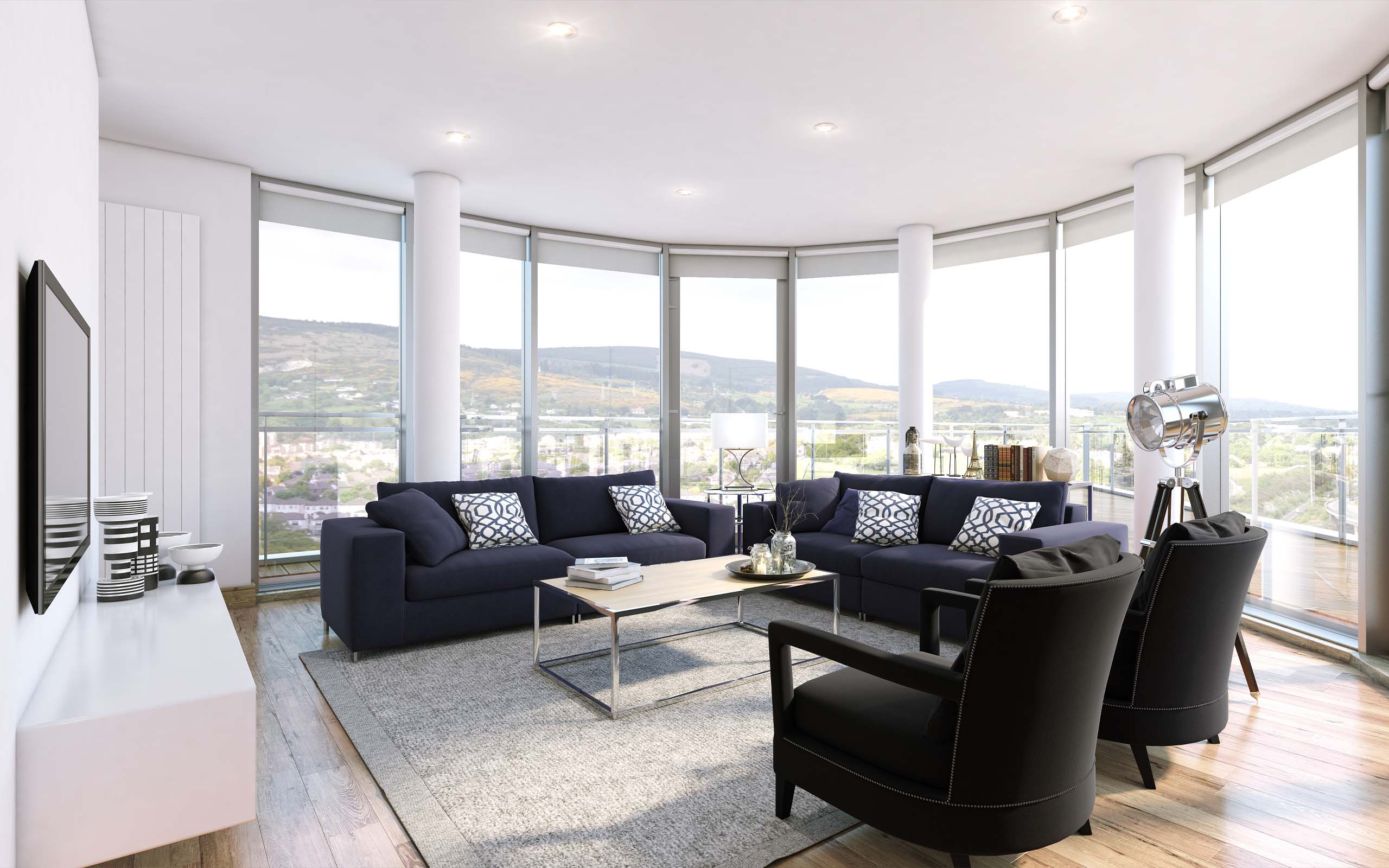 Interior render of a living room in a luxury apartment development.