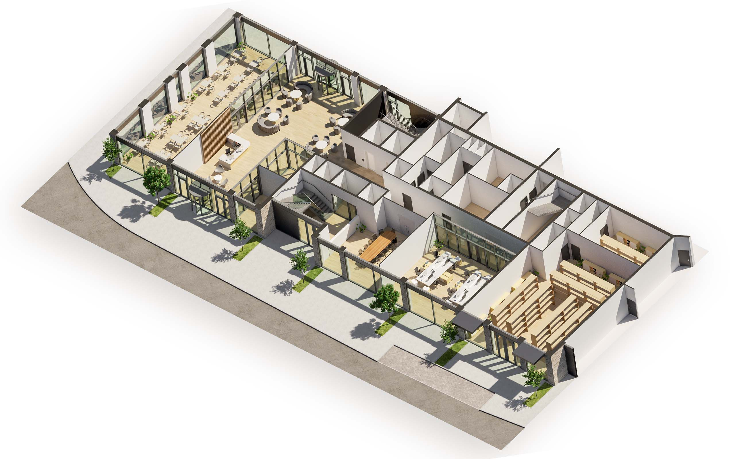 3D floor plan of a medical centre lobby