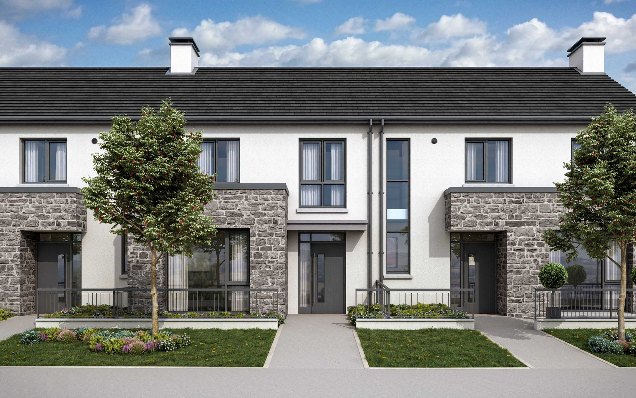 Architectural CGI-D of Oldtown Woods residential development in Celbridge, Co. Kildare.
