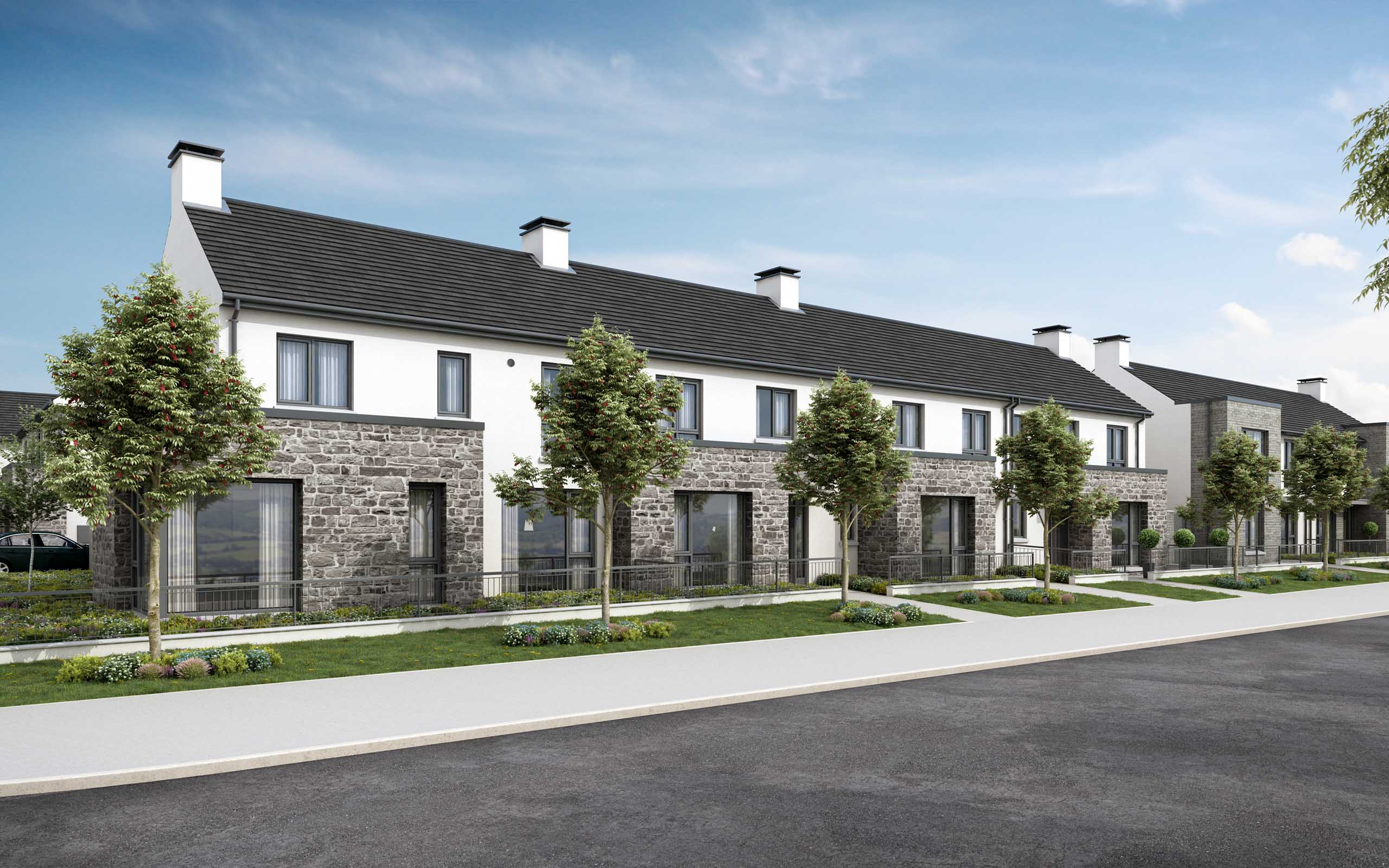 Architectural CGI-E of Oldtown Woods residential development in Celbridge, Co. Kildare.