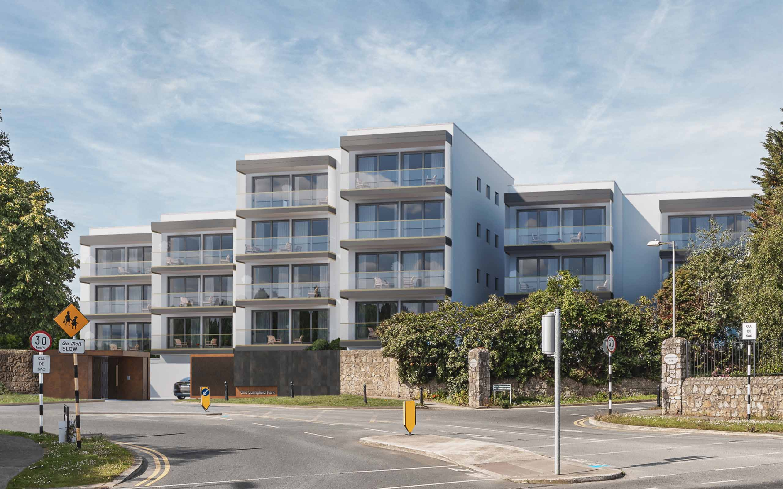 Architectural CGI of luxury apartments at Pine Avenue and Springfield Park, Foxrock, South Dublin.