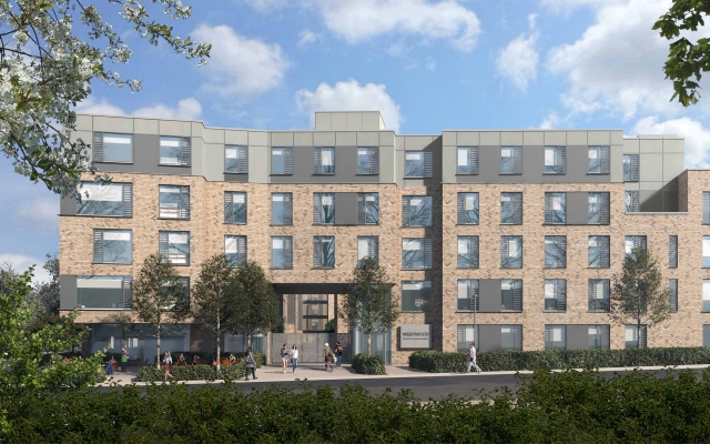 Architectural CGI of Westwood Student Accommodation, Galway.