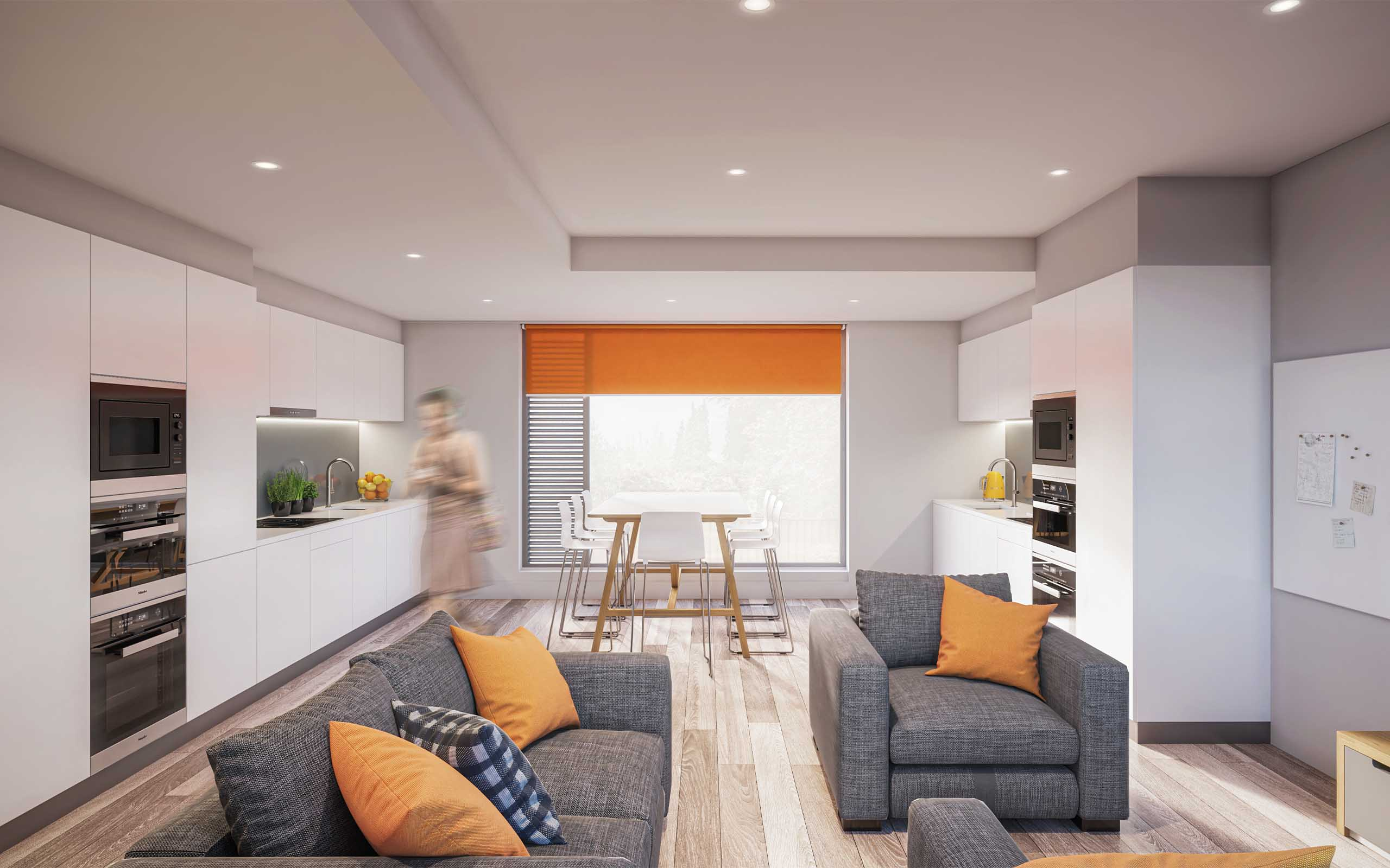 Interior CGI of Westwood Student Accommodation, Galway.