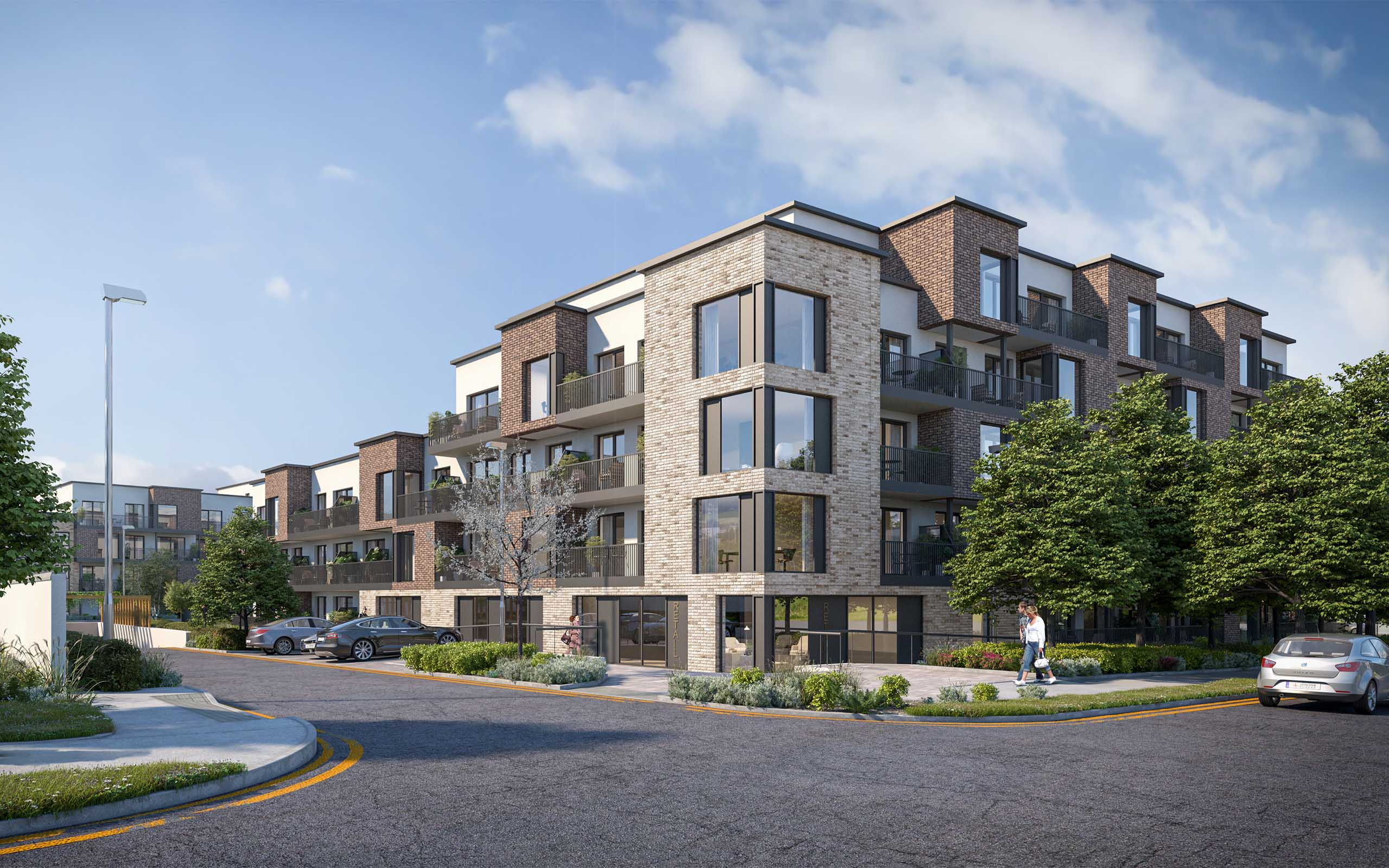 Architectural CGI of 'The Gallery': 144 apartments approved at Turvey Avenue, Donabate.