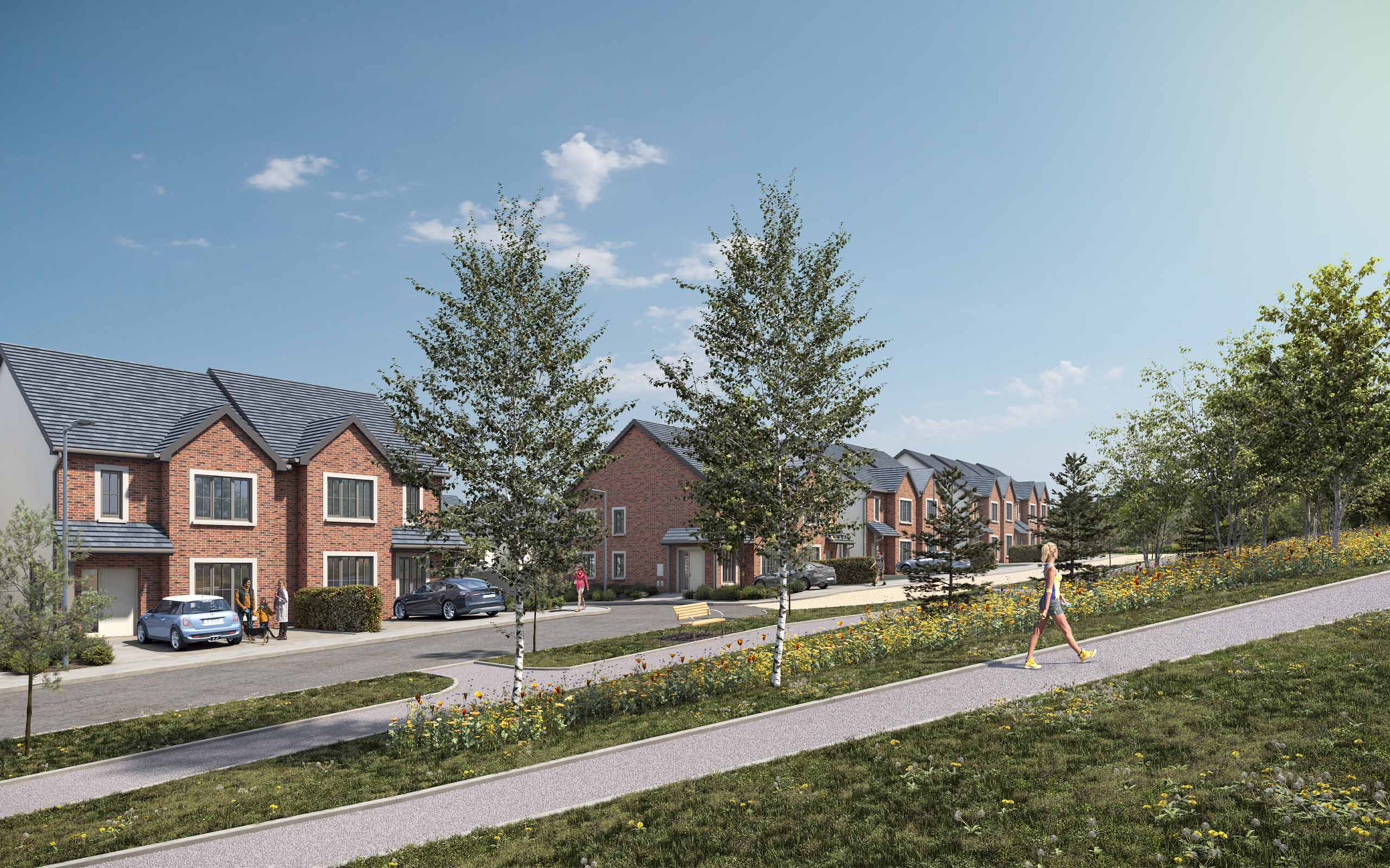 Architectural CGI of Stoney Hill Road SHD, Rathcoole.