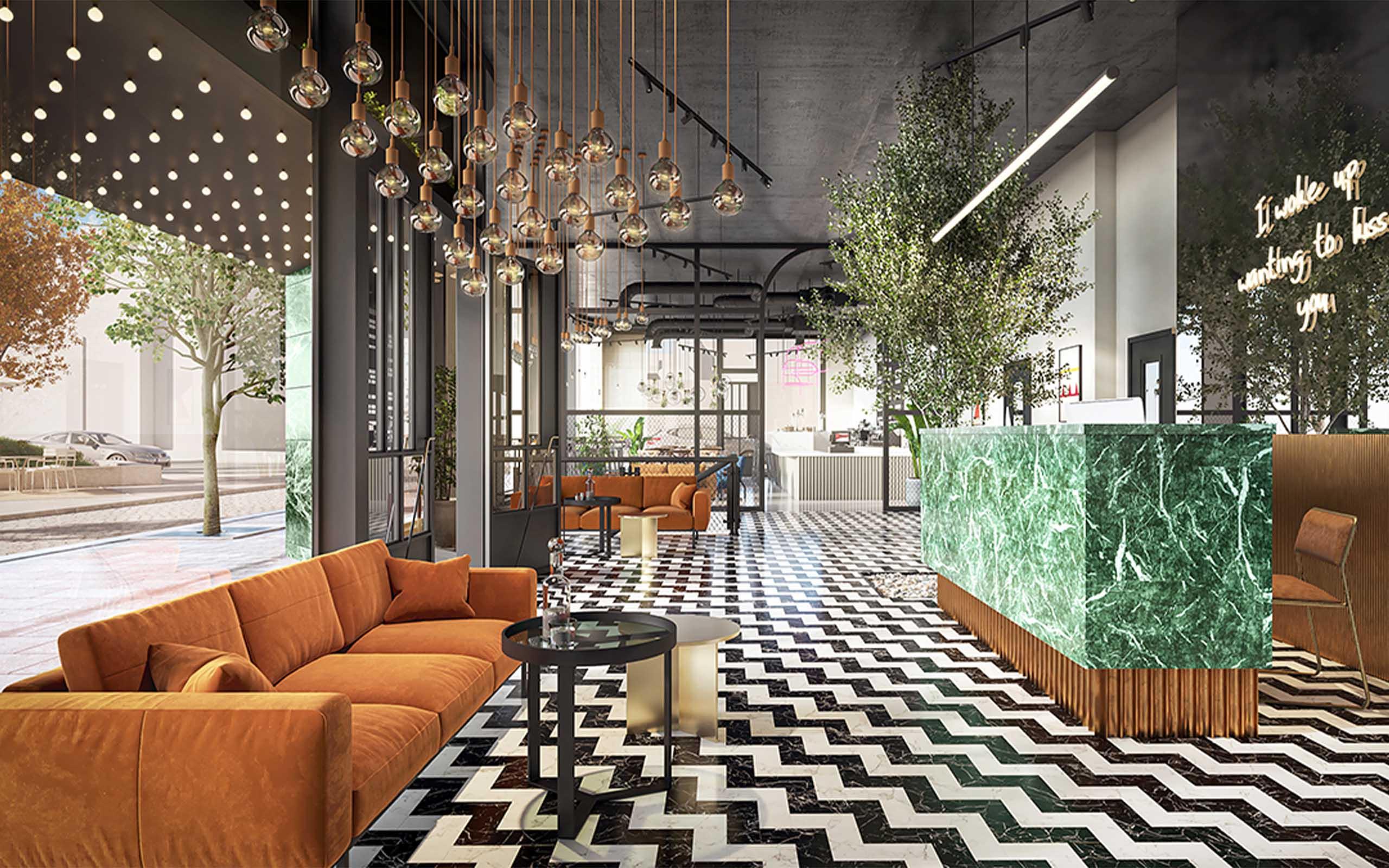 Interior CGI of the Sharp Monochrome Reception - Molyneux Hotel, Dublin's Liberties.