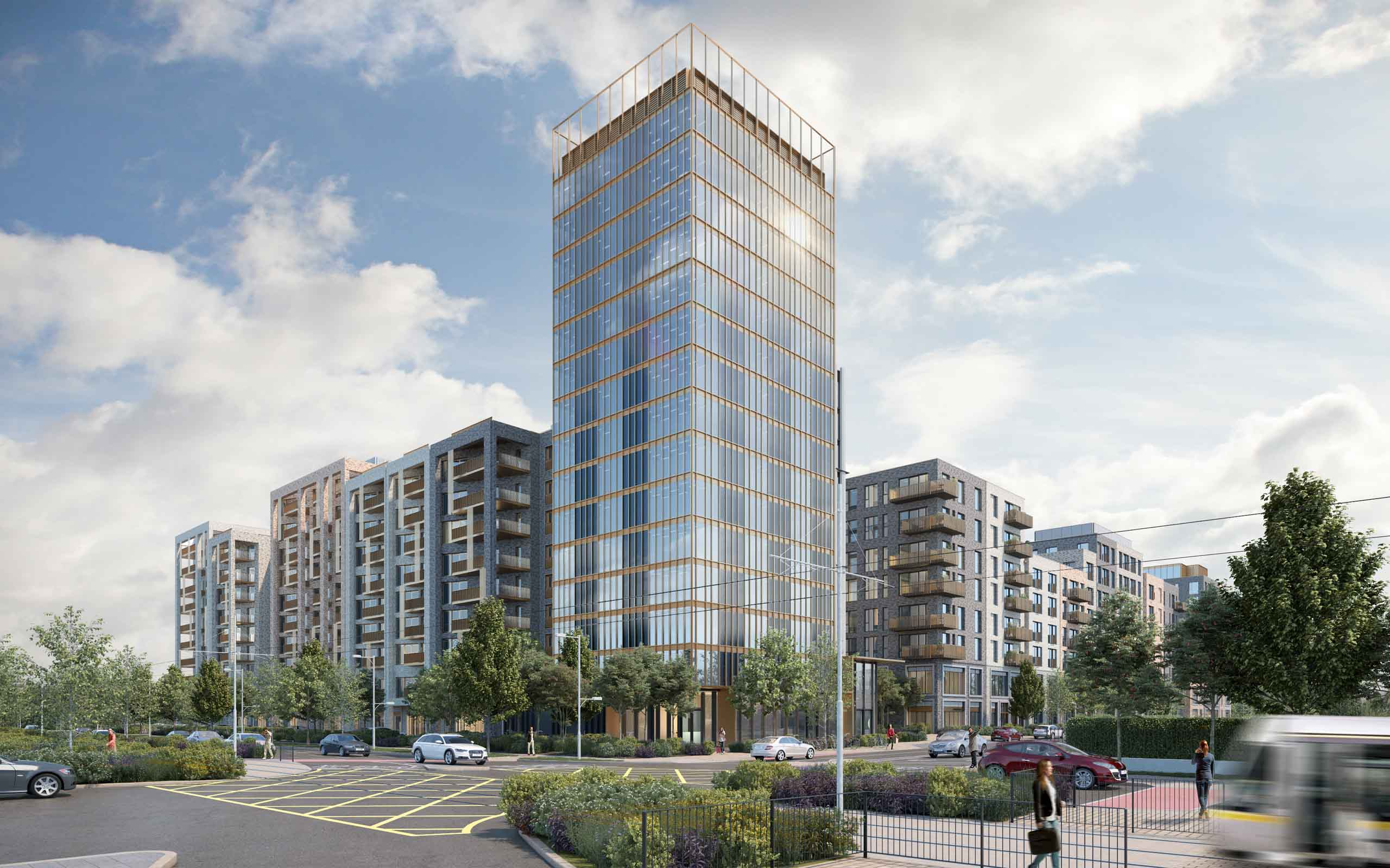 Architectural CGI of Southwest Gate Mix-Use Development Naas Road, Dublin 12.