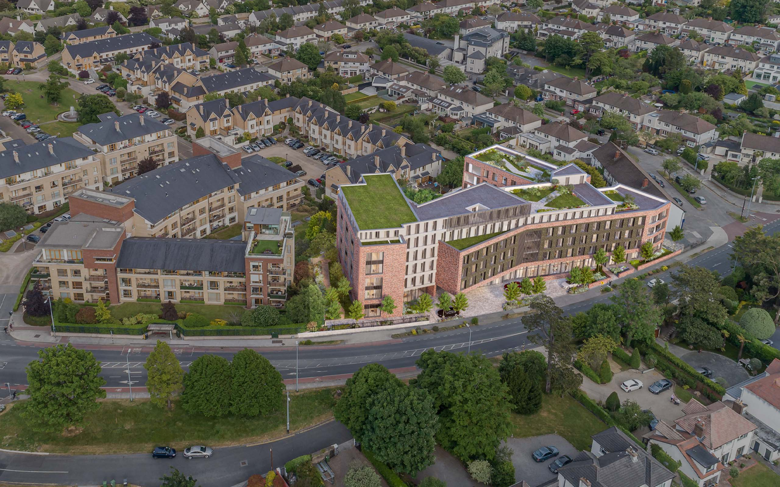 Aerial photomontage of Goatstown Road Student Accommodation.