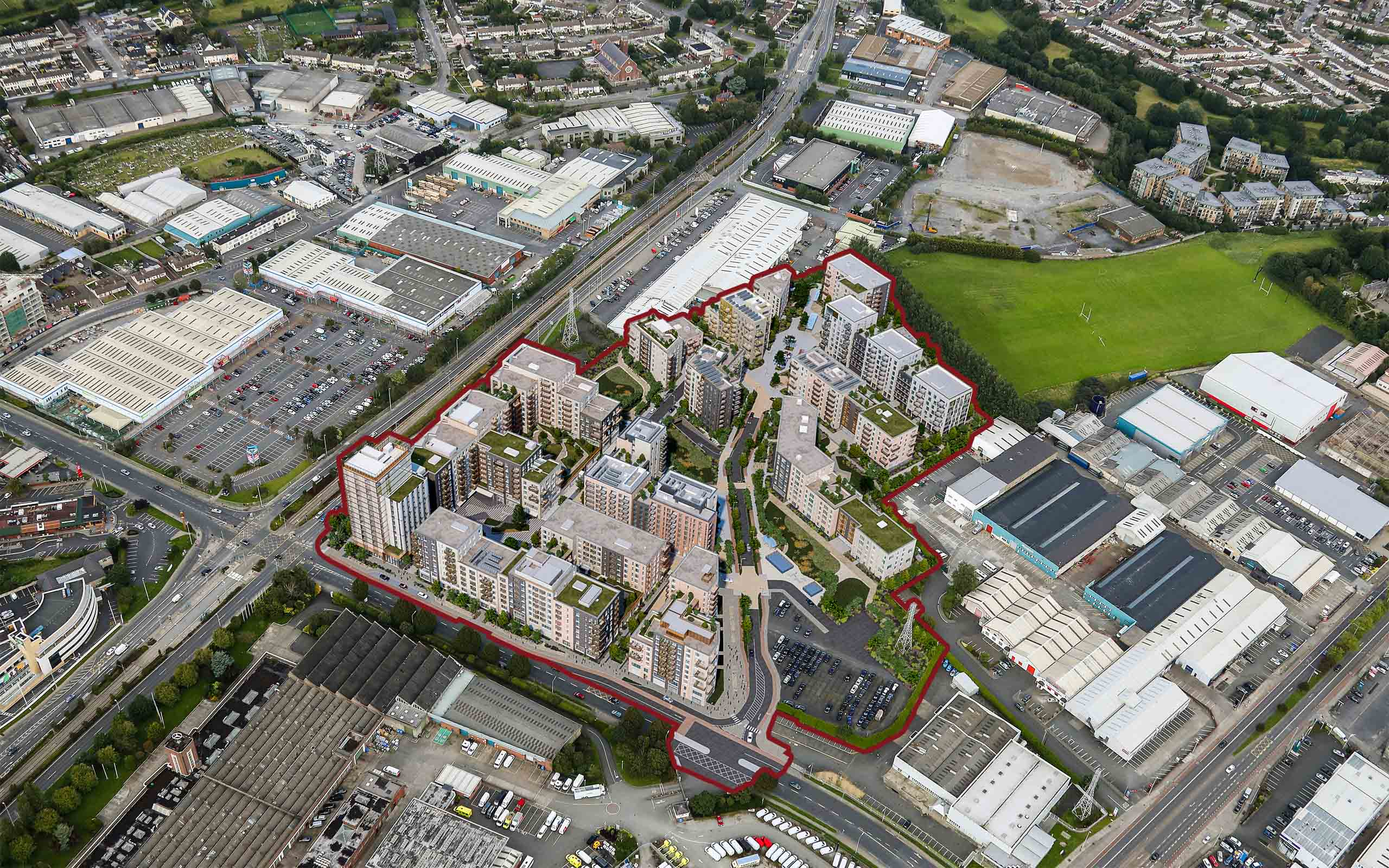 Aerial photomontage of Southwest Gate Mix-Use Development Naas Road, Dublin 12.
