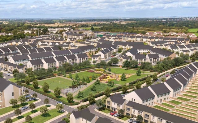 Aerial View of Architectural CGI of Skylark Development in Portmarnock