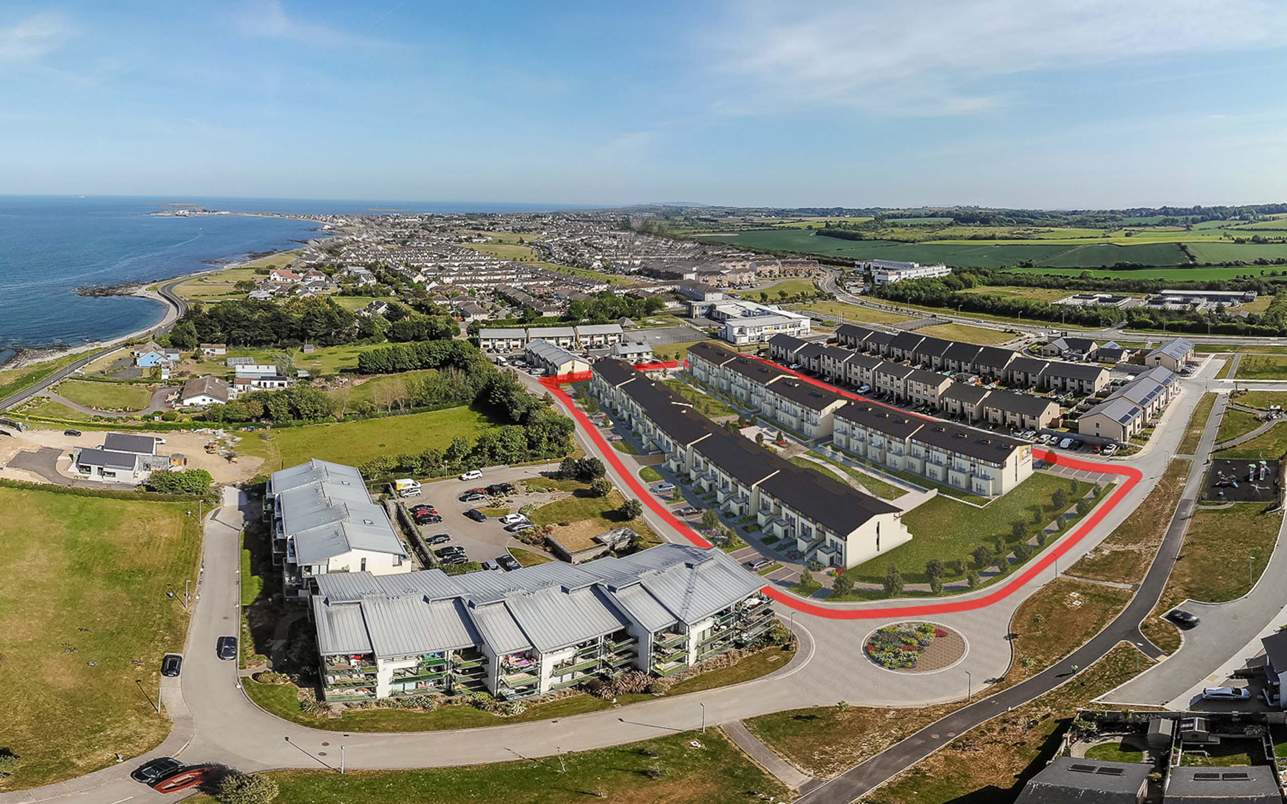 Aerial CGI of Architectural CGI of Apartments in Barnageeragh Cove in Skerries, North County Dublin.