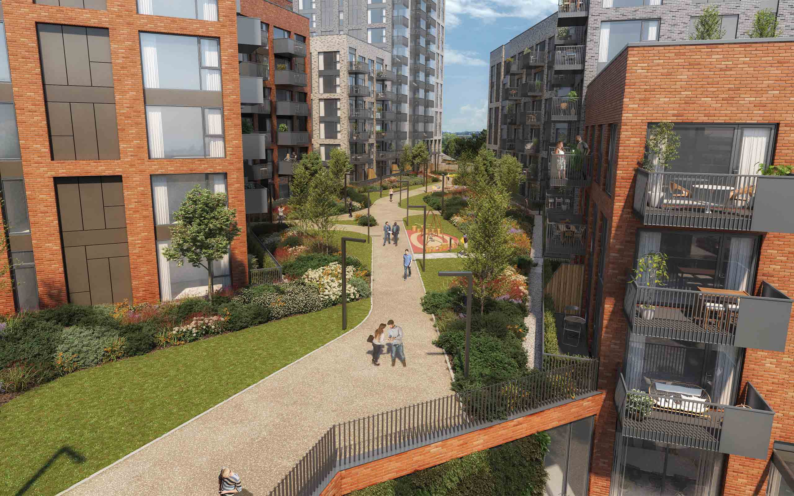 """Architectural CGI of """"8th Lock"""" apartment development at Royal Canal Park in Dublin 15."""