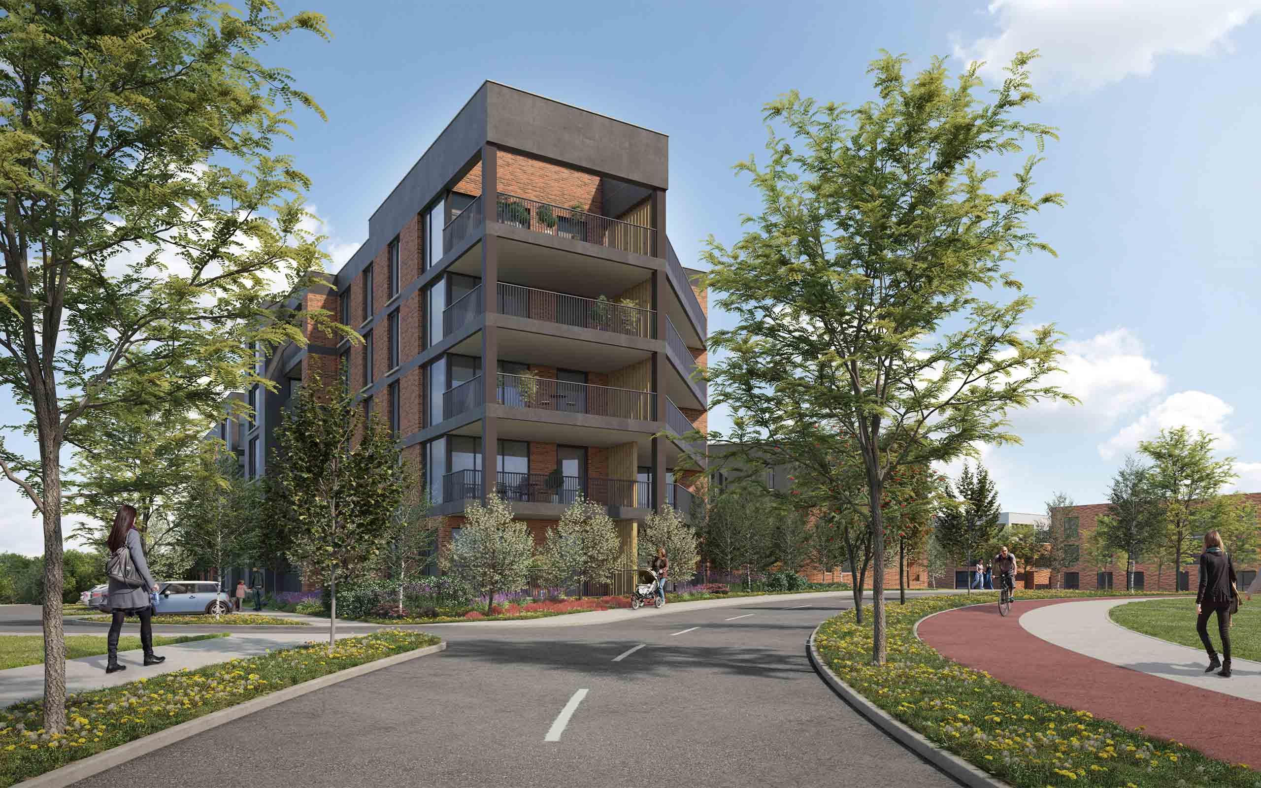 Architectural CGI of Residential Development in Lissywollen