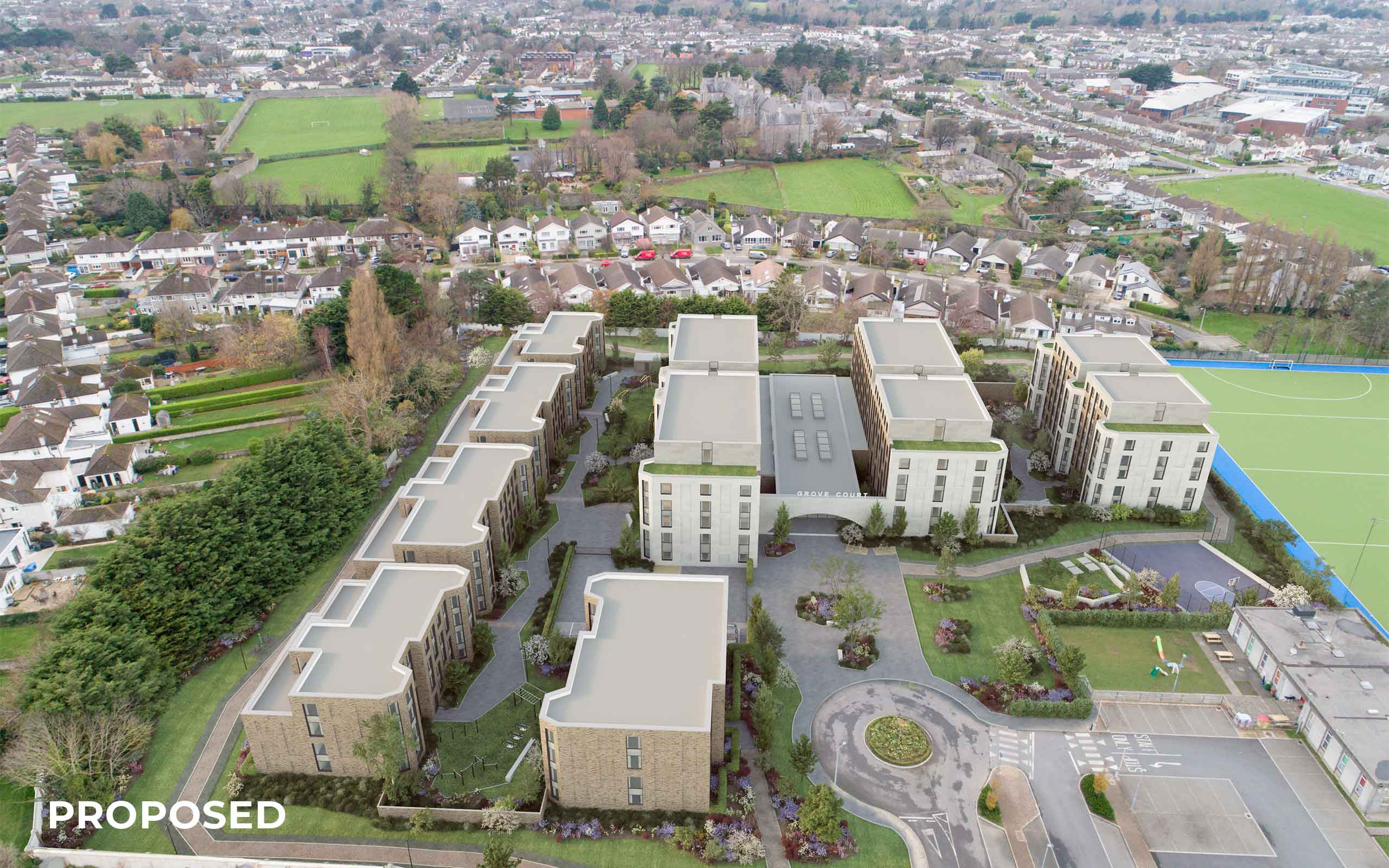Verified View Montage of Student Accommodation in Goatstown (proposed).