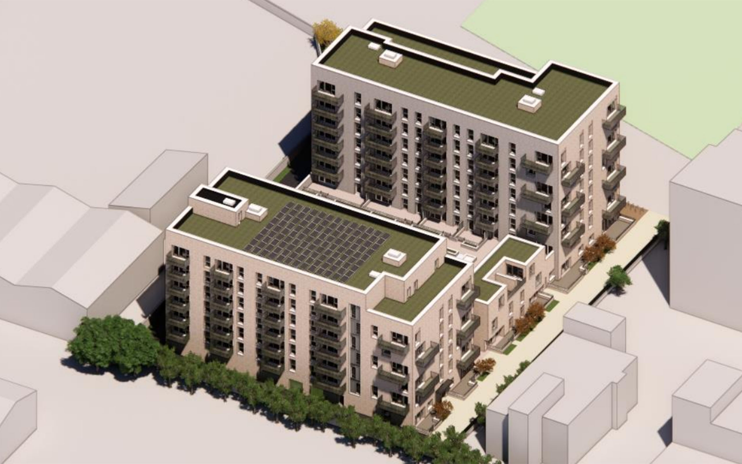 133 Social Homes at Fourth Avenue and Belgard Square North. Tallaght. Image Credit Coady Partnership Architects