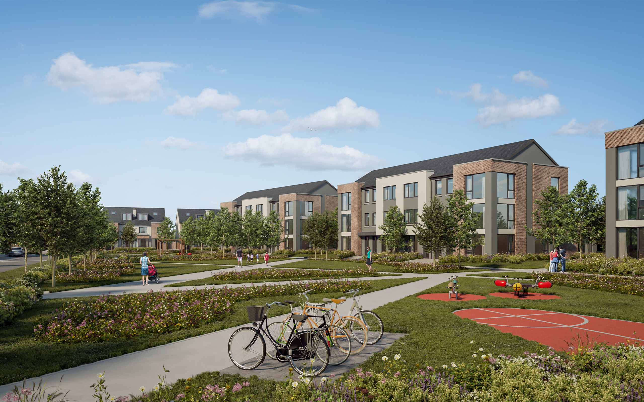 Architectural CGI of proposed Coleville Road SHD in Clonmel, Co. Tipperary.