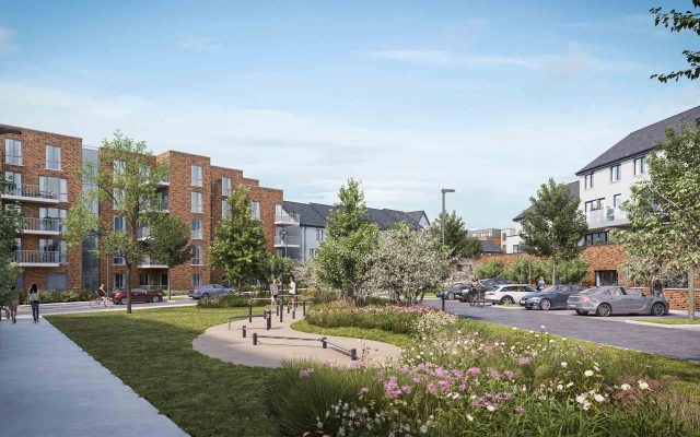 Architectural CGI of 1365 homes in plans for Corballis East, Donabate, Co. Dublin.