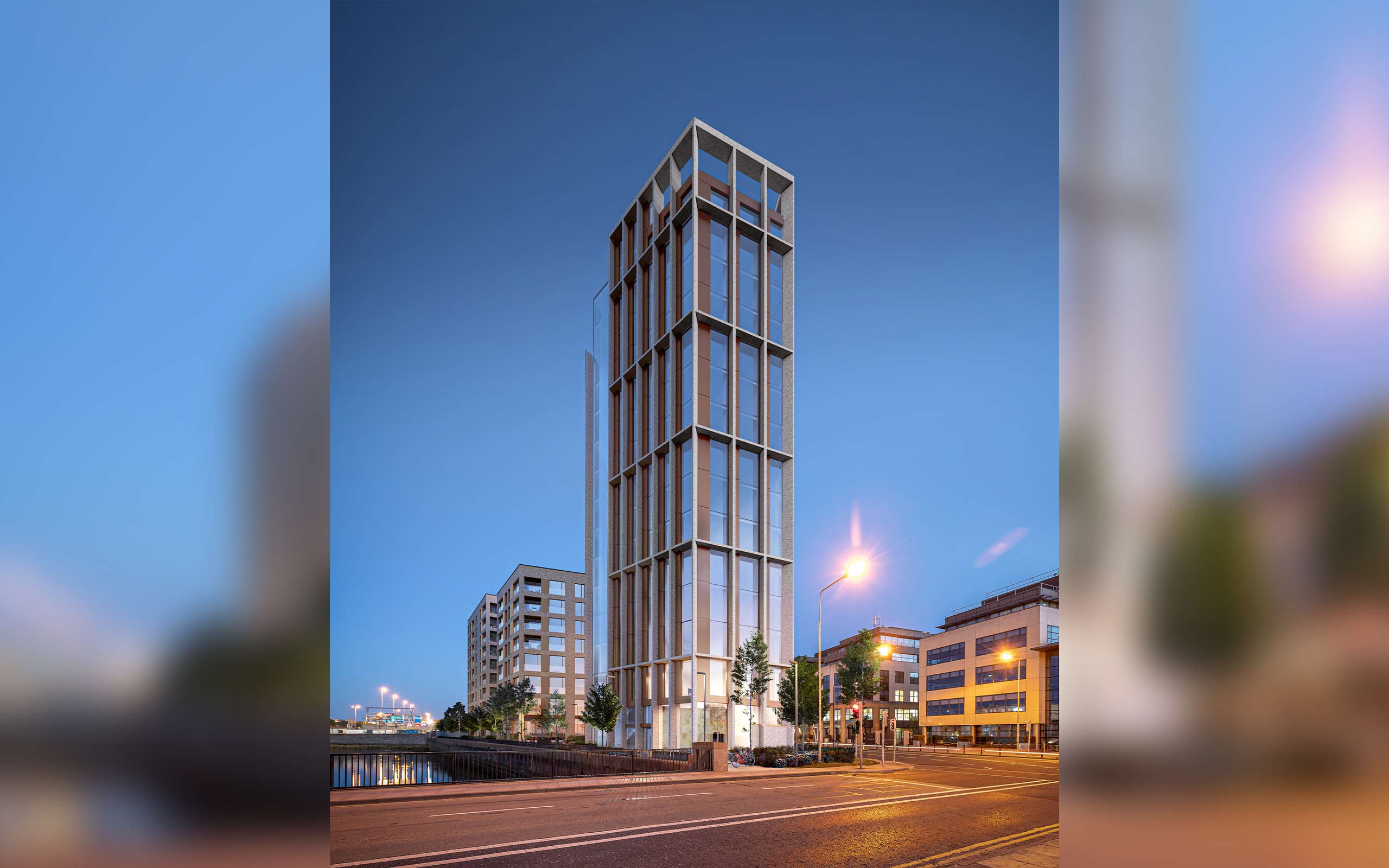 Presentation CGI of East Wall Road new 15-storey hotel, office, and 88 apartments.