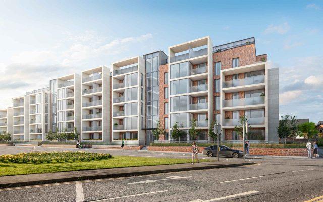 Architectural CGI of 112-unit BTR apartment complex on Beach Road, Irishtown, Dublin 4.