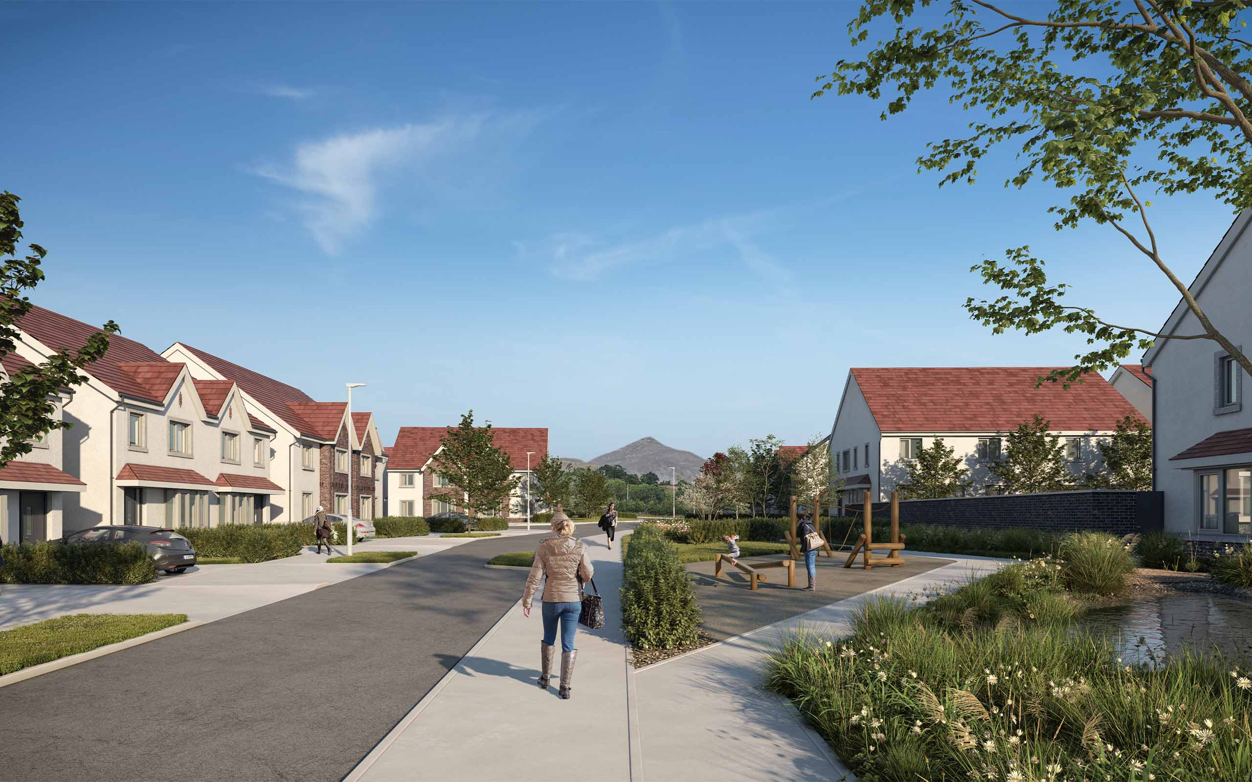Architectural CGI of 165-unit Housing Development in Enniskerry, Co. Wicklow.