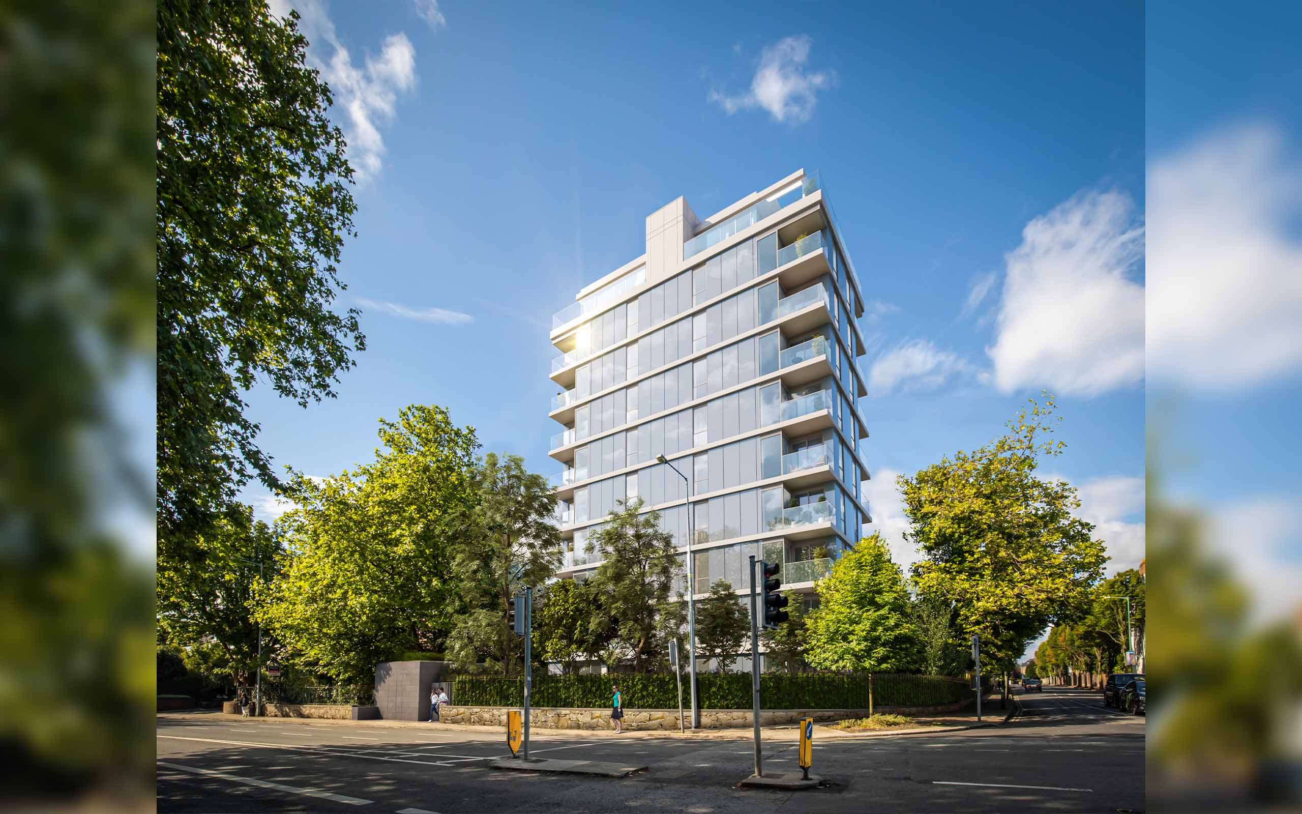 Architectural CGI of 10 storey apartment development in plans at Appian Way, Dublin 4. Developed by Johnny Ronan.