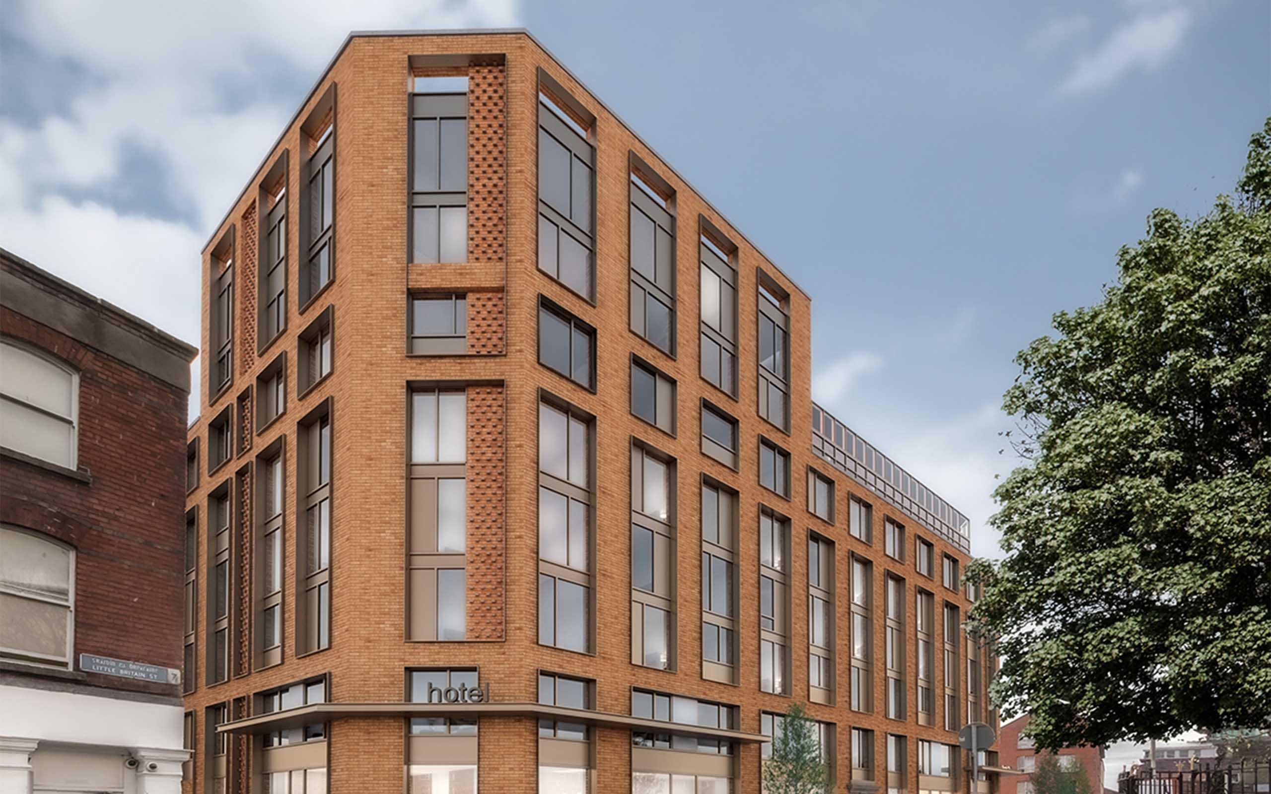 Architectural CGI of Little Britain Street Hotel Development