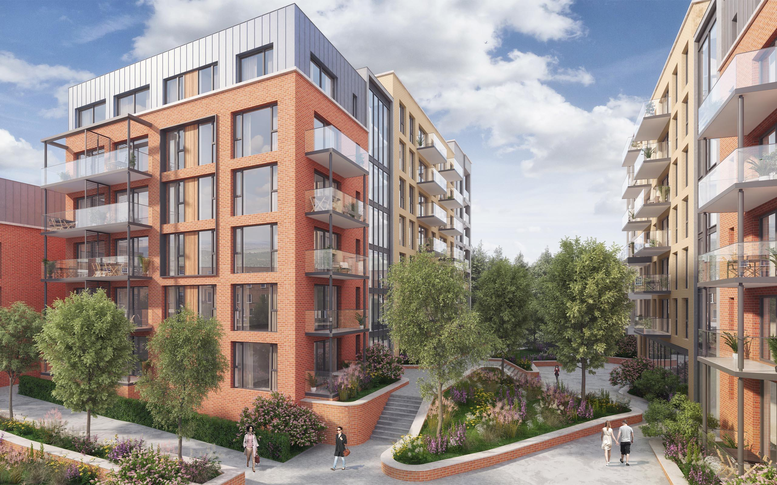 Architectural CGI of Davitt Road SHD located at the former Dulux Paint Factory.